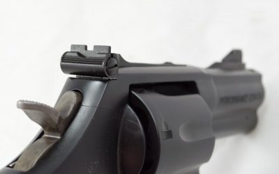 The rear sights are adjustable for windage and elevation.