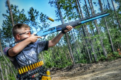 Author's son competing in a 3 gun match at 11 years old.