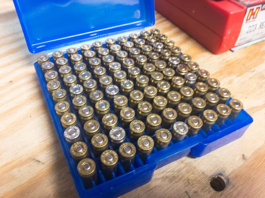 If you load handgun cartridges nose down, you can scan the whole box at once for any missing or upside-down primers.