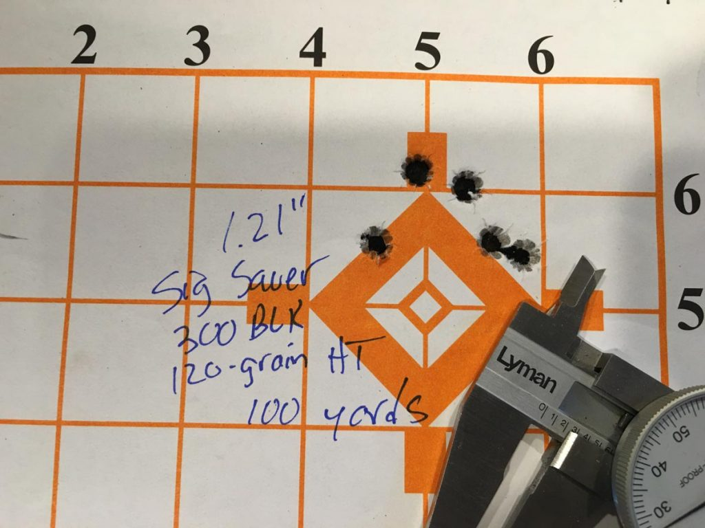 I had little trouble getting 100-yard, five-shot groups like this with the 300 Blackout HT load.