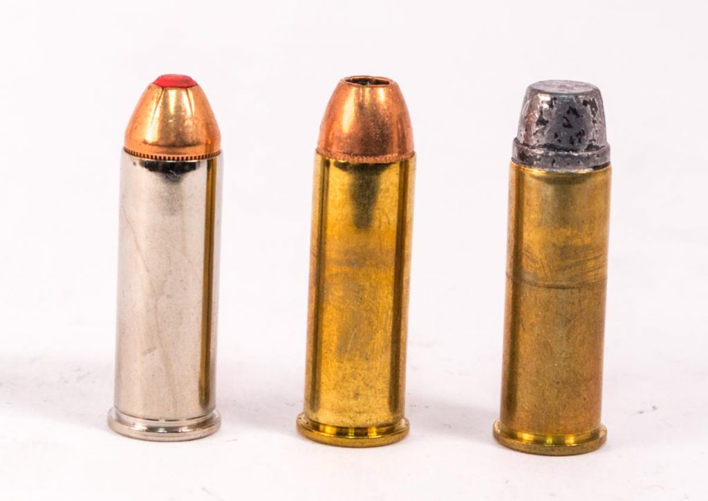 Most revolver cartridges use roll crimps like these. If you look closely, you can see where the case mouth is slightly turned into the bullet cannelures.