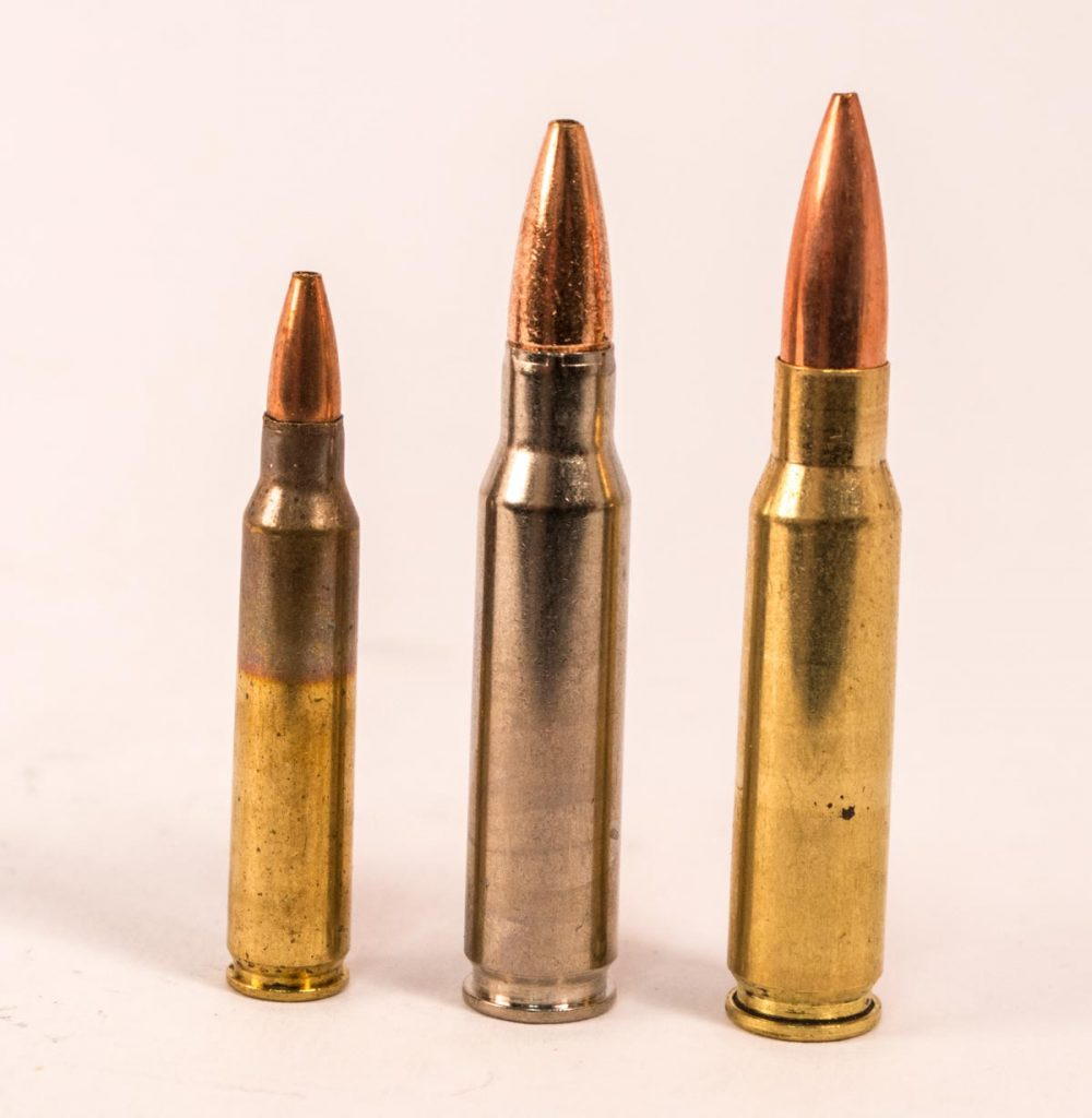 Bottleneck cartridges that use the shoulder for headspace can use taper crimps, roll crimps, or mashed-up roll crimps like the one in the center.