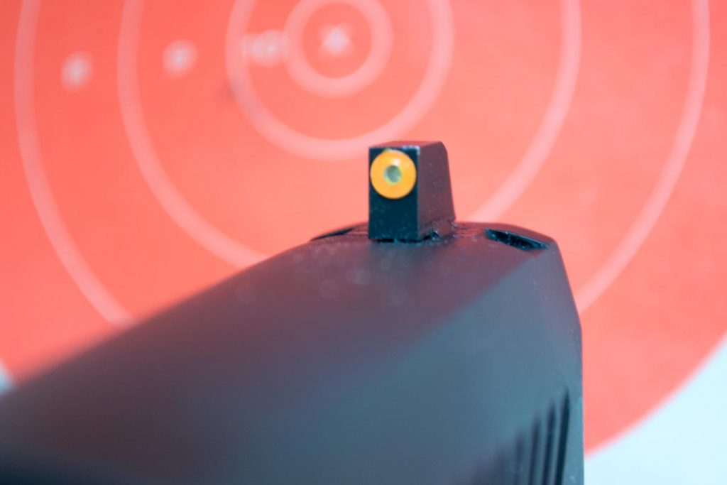 Both the front post and dot are extra big on the new F8 sights.