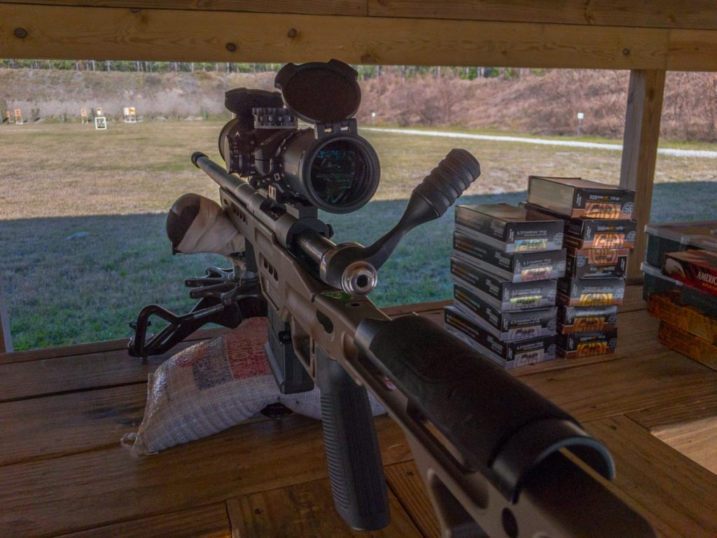 The Masterpiece Arms rifle seemed to shoot better without a suppressor.