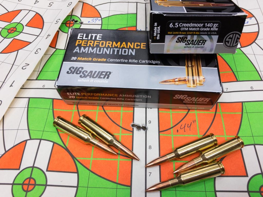 Sig Sauer's brand new 6.5mm Creedmoor OTM Match Grade ammo shot like a champ from the Masterpiece Arms MPA BE Lite rifle. This is a five-shot group from 100 yards.