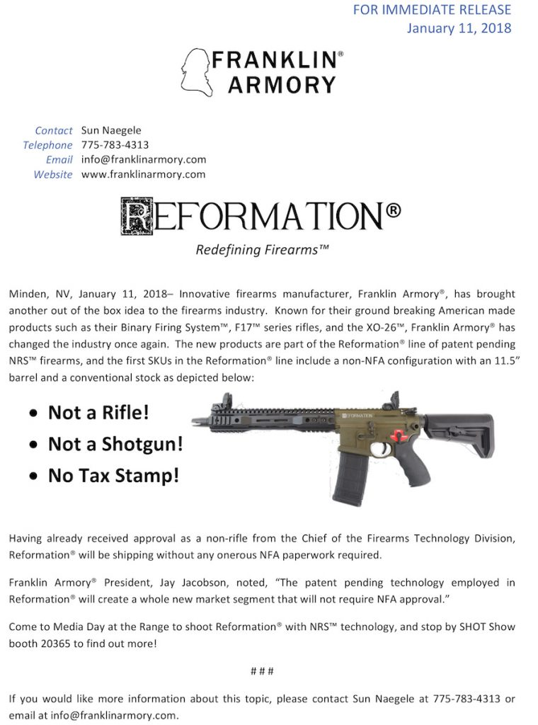 Franklin Armory To Introduce Non Nfa 11 5 Inch Ar Pattern Firearm