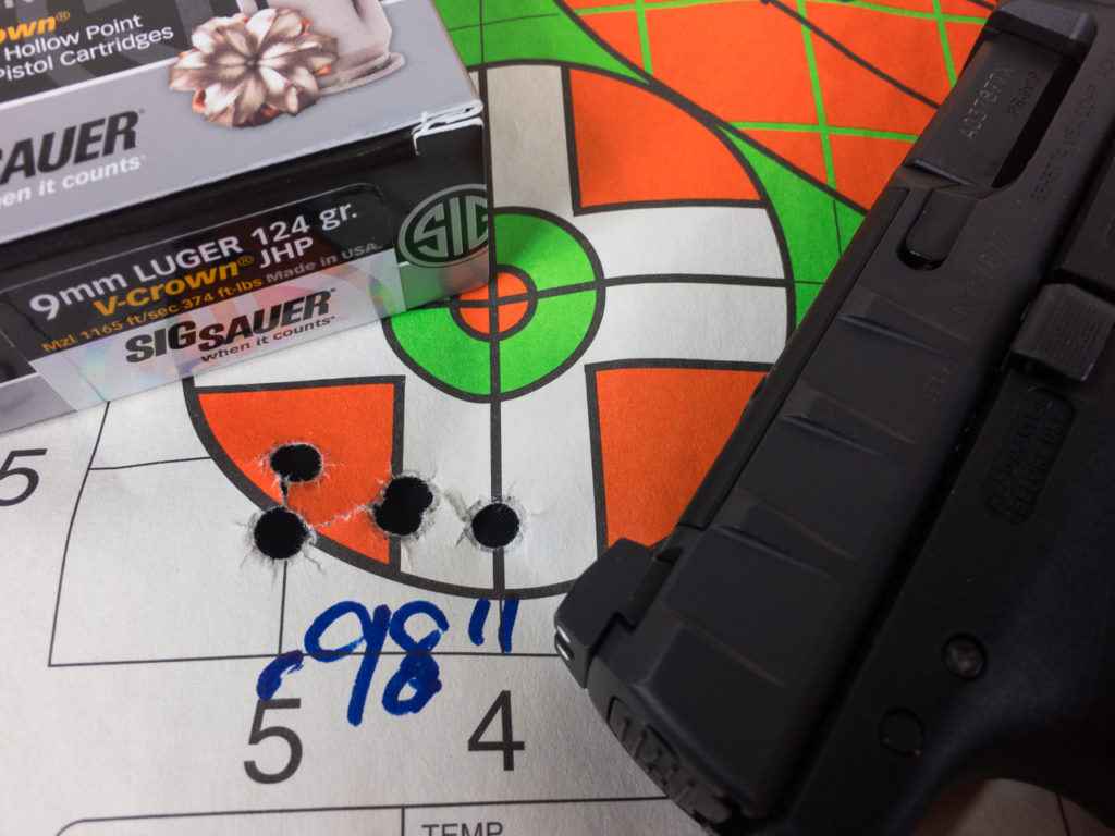 The APX RDO turned in some impressive groups like these five shots of Sig Sauer V-Crown from 25 yards.