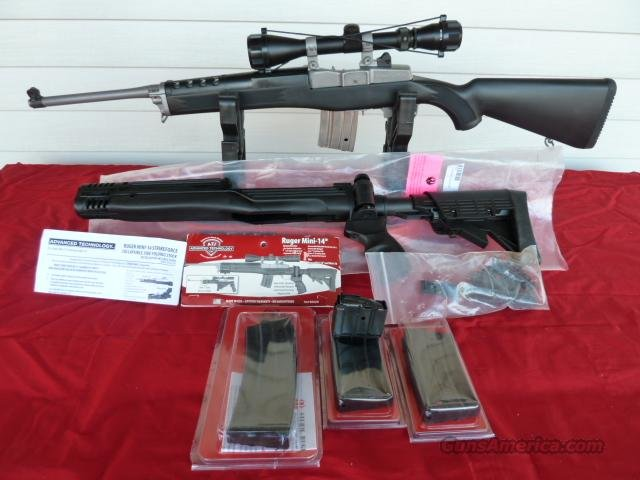 RUGER MINI 14 STAINLESS, NEVER FIRED MANY EXTRAS  Guns > Rifles > Ruger Rifles > Mini-14 Type