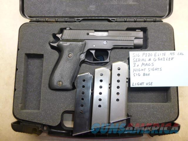 Used Sig P220 Elite .45 Caliber Pistol with 3 Mags, Night Sights & Sig Box  Guns > Pistols > Sig - Sauer/Sigarms Pistols > P220