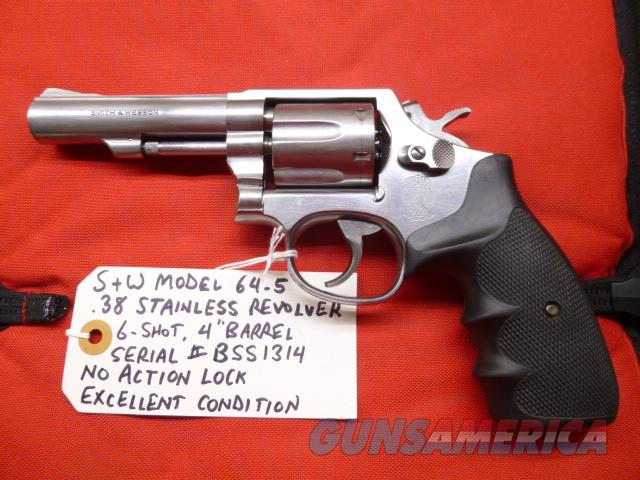 """Used S&W Model 64-5 .38 Revolver, Stainless with 4"""" Barrel, No Action Lock  Guns > Pistols > Smith & Wesson Revolvers > Med. Frame ( K/L )"""