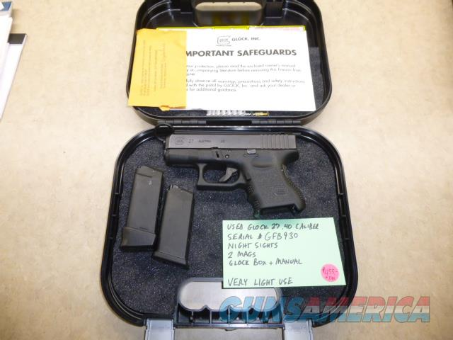 Glock 27 .40 Caliber Pistol with Night Sights, 2 x Mags & Glock Box - Perfect for Concealment  Guns > Pistols > Glock Pistols > 26/27