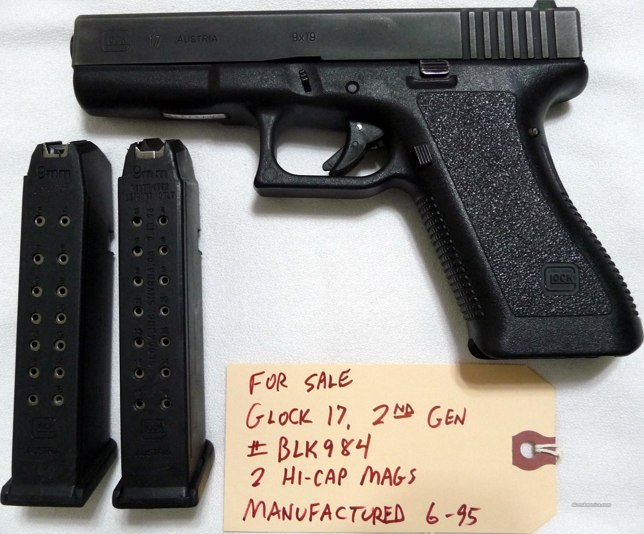 Used Glock-17 Gen-2 9mm with 2 hi-cap mags  LAYAWAY AVAILABLE  Guns > Pistols > Glock Pistols > 17