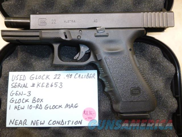 Used Glock 22 .40 Caliber Pistol, Police Trade-In, Very Light Use  Guns > Pistols > Glock Pistols > 22