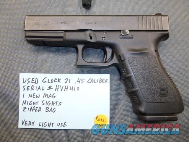 Used Glock 21 .45 Caliber Pistol with Night Sights, A Real Shooter  Guns > Pistols > Glock Pistols > 20/21