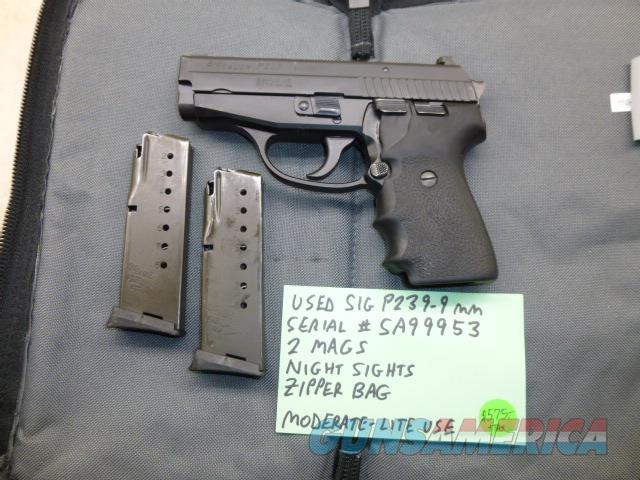 Used Sig P239 239 9mm Pistol with 2 x Sig Mags, Night Sights & Zipper Bag  Guns > Pistols > Sig - Sauer/Sigarms Pistols > P239