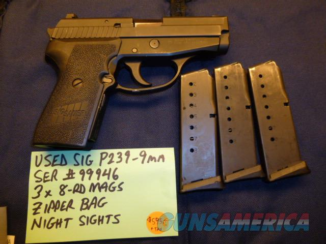 Used Sig P239 239 9mm Pistol with 3 x 8-round Mags & Night Sights  Guns > Pistols > Sig - Sauer/Sigarms Pistols > P239