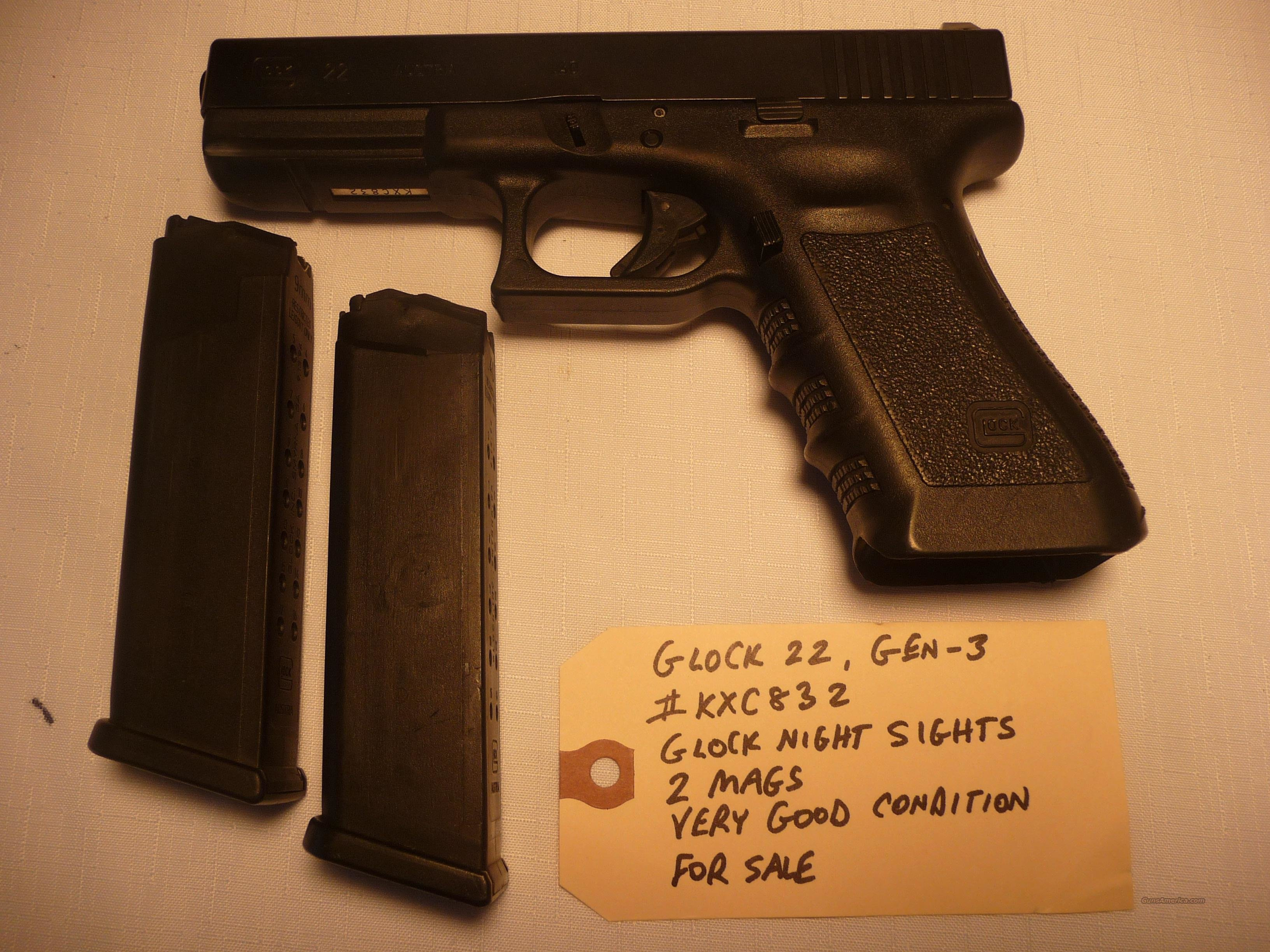 Used GLOCK-22 with 2 HI-CAP MAGS, Police Trade-In, .40 Pistol  Guns > Pistols > Glock Pistols > 22