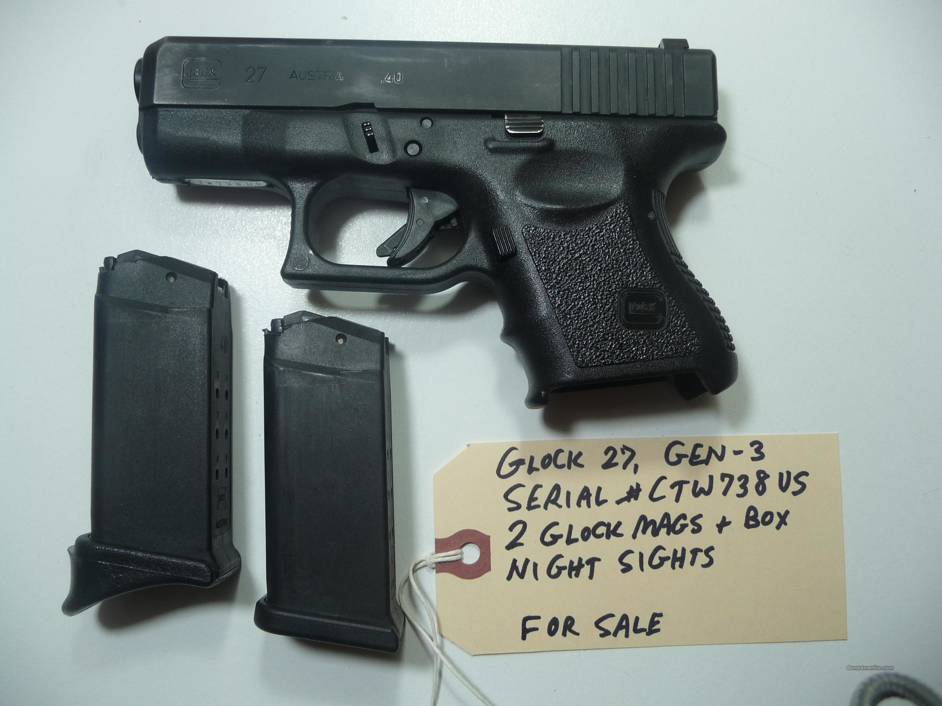 GLOCK-27 Gen-3 .40 Police Trade-In Used  Guns > Pistols > Glock Pistols > 26/27