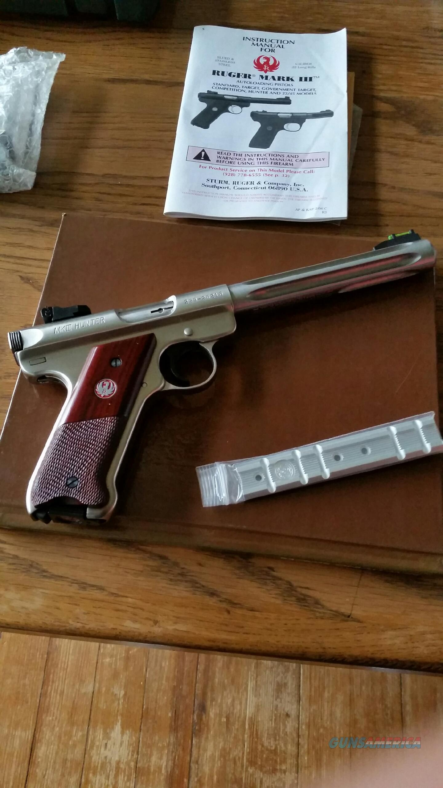 Ruger Stainless Mark-III,.22 cal.Semi-auto pistol  Guns > Pistols > Ruger Semi-Auto Pistols > Mark I/II/III Family