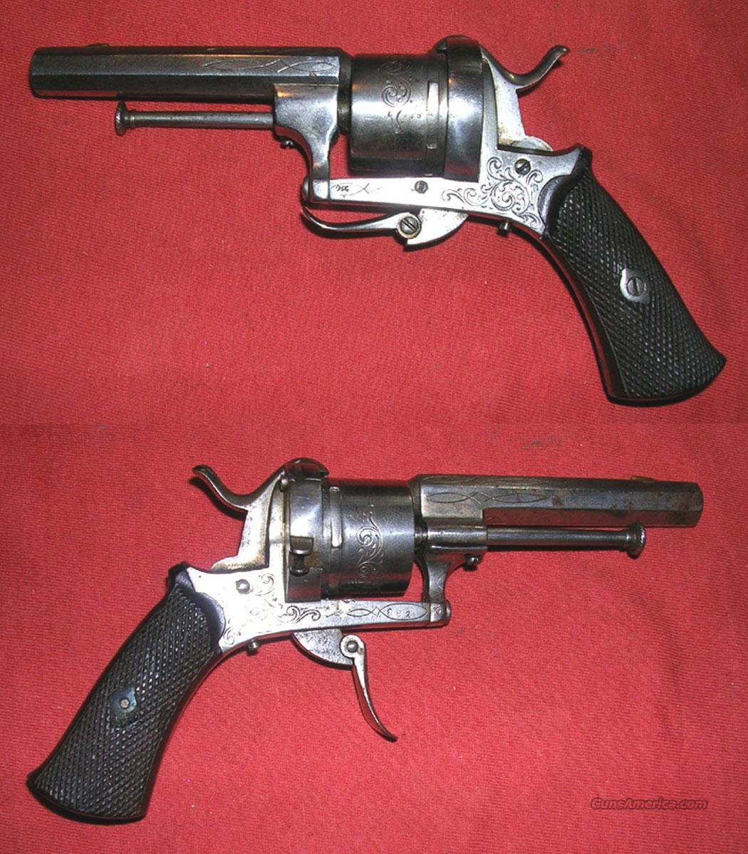Engraved Pinfire Pistol  Guns > Pistols > Antique (Pre-1899) Pistols - Ctg. Misc.