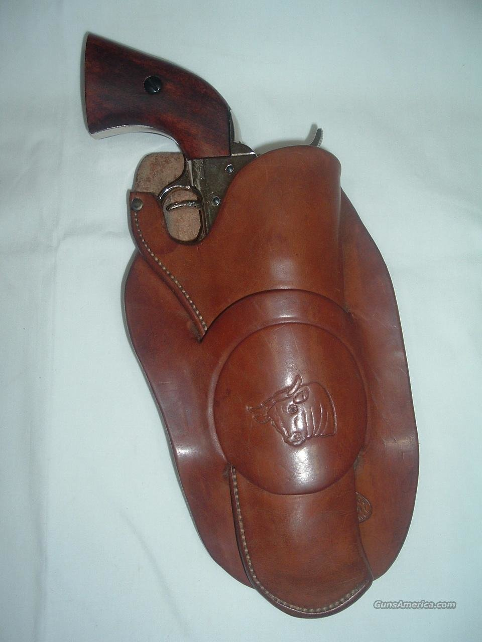 "H H Heiser Antique Steer Head Side Holster Single Loop SA 5 1/2"" RH  Non-Guns > Holsters and Gunleather > Cowboy"
