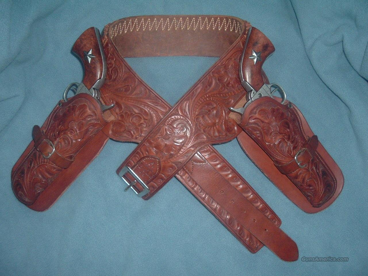 H H Heiser / V L & A Chicago Hand Tooled Double Drop #65 Belt #758 Holsters Antique Vintage  Non-Guns > Holsters and Gunleather > Cowboy
