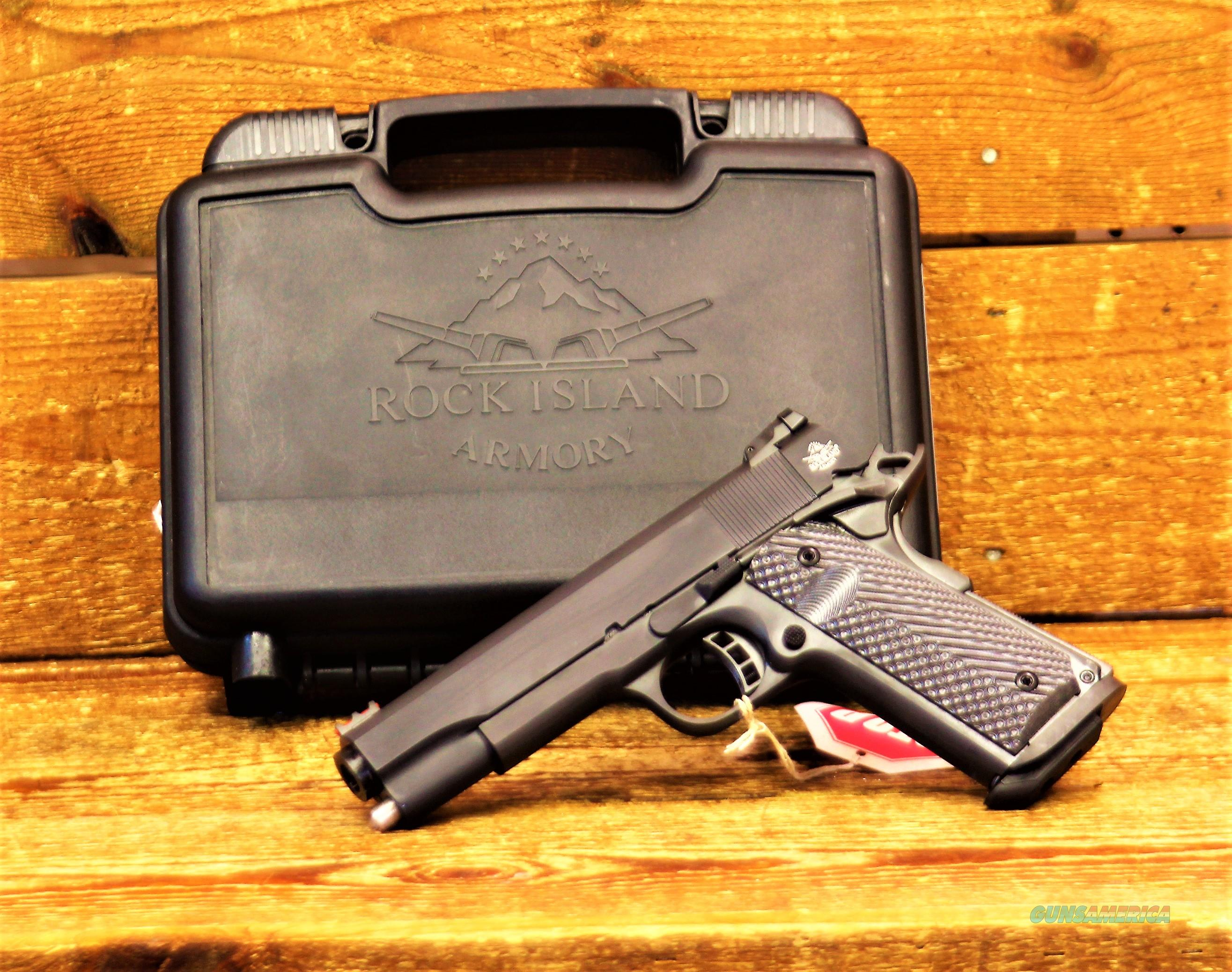$57 EASY PAY LAYAWAY Battle Proven Design 1911A1 in 10mm Armscor Tactical II  upgraded version  Rock Island Armory RIA  1911 standard  1911-A1  parkerized enhanced  trigger & beaver tail VZ Operator II G-10 Grips Fiber Optic Sight 51991  Guns > Pistols > Rock Island Armory Pistols > Rock Island