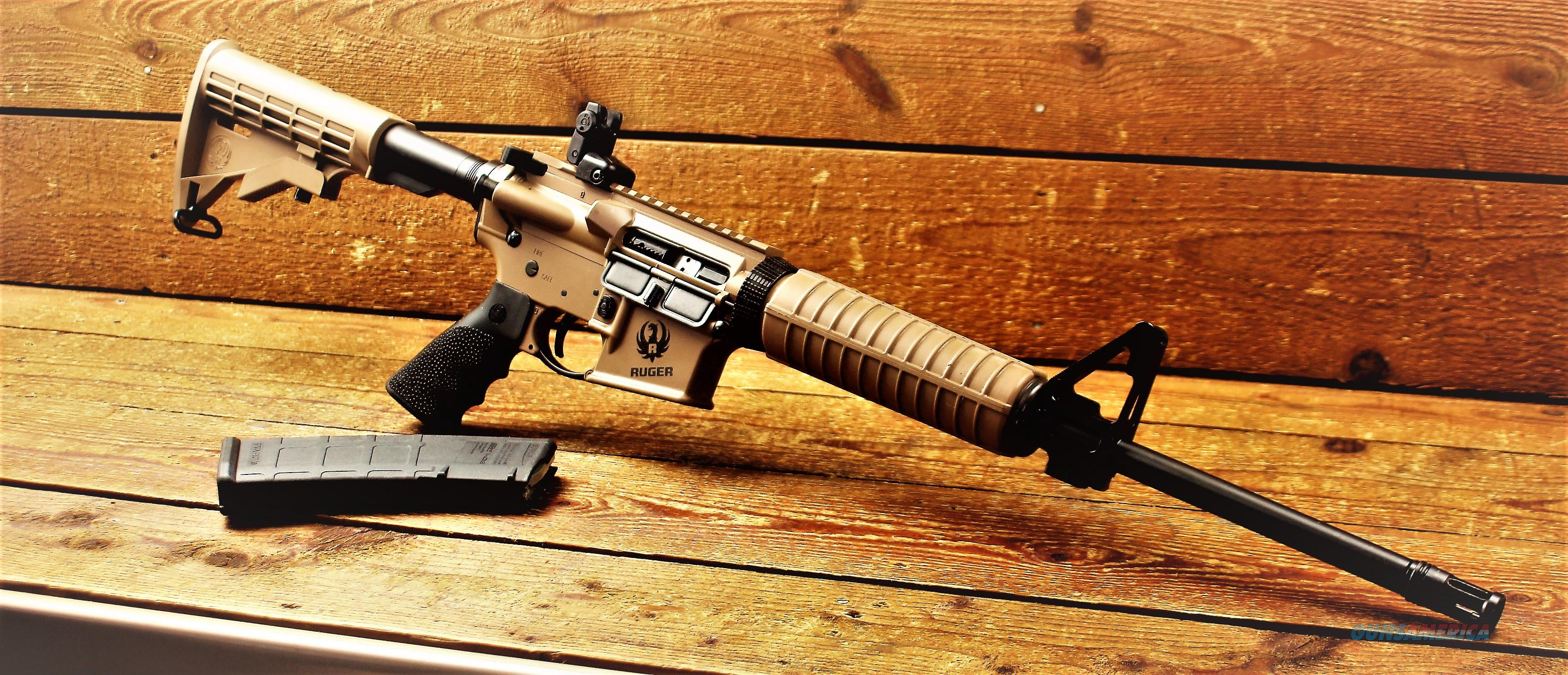 EASY PAY $44 DOWN LAYAWAY Ruger Barrett Brown  Exclusive  FDE Cerakote Components 8503 AR-556 Rifle Ar-15 Ar15 5.56 NATO / 223 Remington 30rd Magpul M4 Synthetic 6 Position Adjustable Stock  Guns > Rifles > Ruger Rifles > SR Series