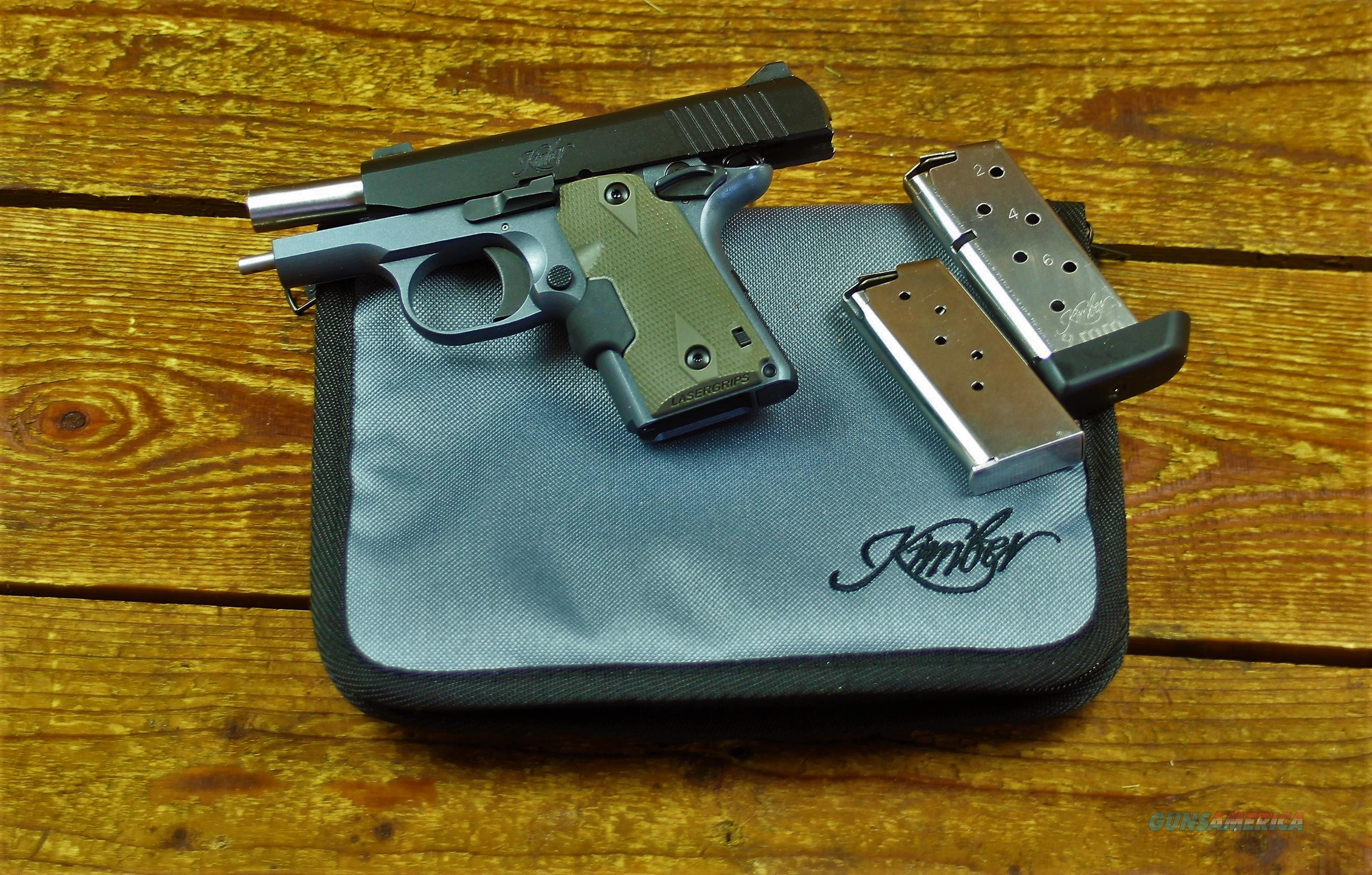 """$65 EASY PAY LAYAWAY Kimber Crime Prevention ! Conceal & Carry 1911 style in OD Green W Soft Case Micro 9 Woodland Night  7 LBS Trigger Pull Barrel 2.75""""  9mm Stainless Steel POCKET PISTOL  Crimson Trace Laser grips red laser   3300178  Guns > Pistols > Kimber of America Pistols > 1911"""