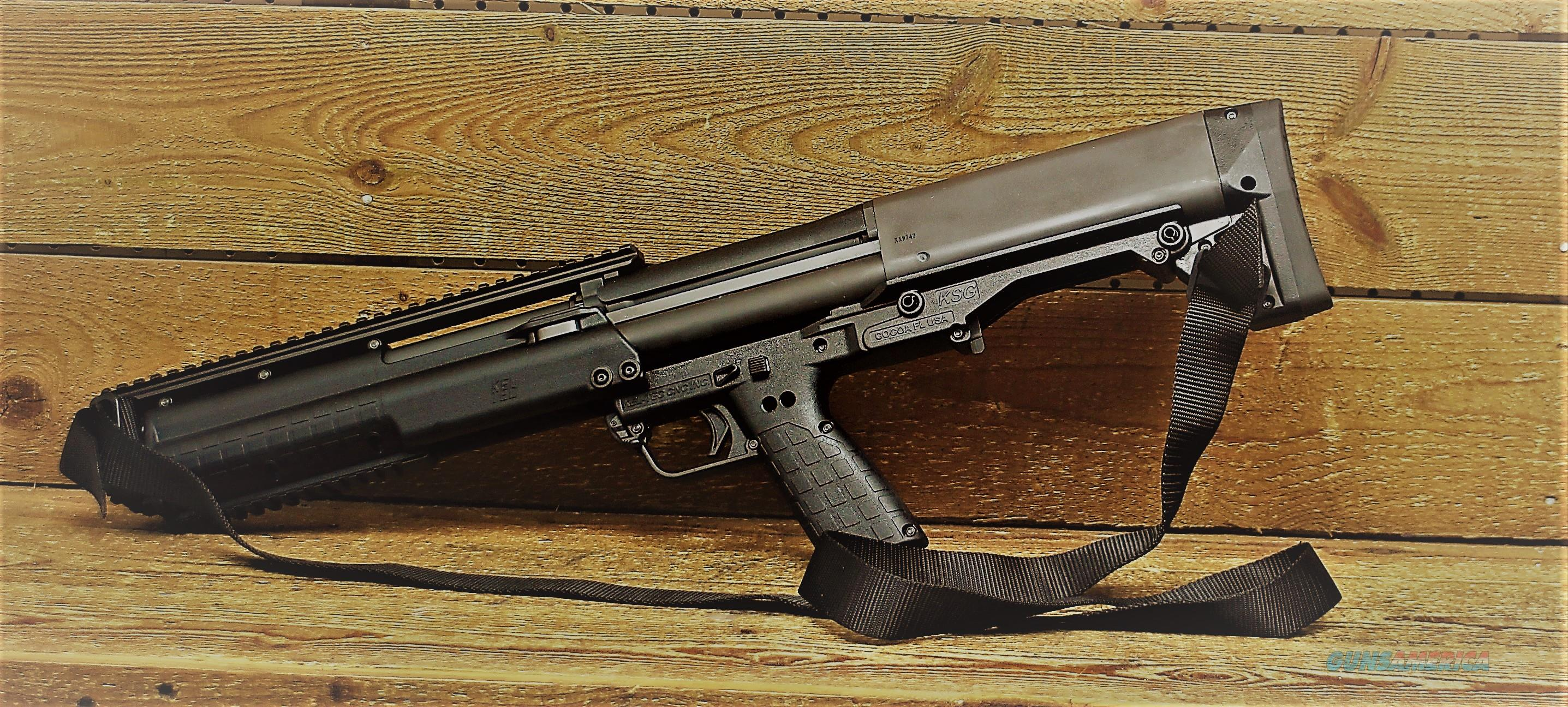 "EASY PAY  $71 LAYAWAY  12 Gauge Kel-Tec KSG Pump Action Shotgun 18.5"" Barrel 2-3/4"" Chamber 14 Rounds Black Synthetic Stockshape and design are similar to the  Kel-Tec RFB   Guns > Shotguns > Kel-Tec Shotguns > KSG"