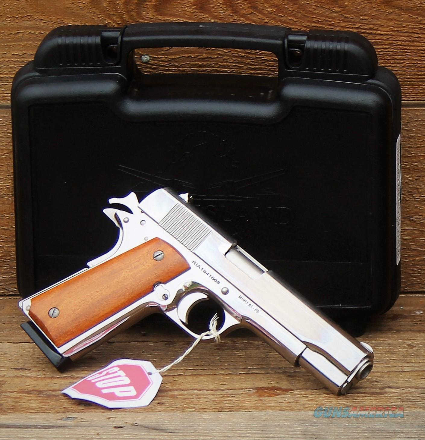"$65 EASY PAY ARMSCOR Precision International High Polished NICKEL  1911  Rock Island Armory  STANDARD GI SERIES FS  SA 1911-A1 Beavertail  Grip Safety RIA 5"" barrel 1:16"" twist   Steel Frame 1911A1 Fixed sights GI Hard CASE Wood Grips 51433  Guns > Pistols > Rock Island Armory Pistols > Rock Island"
