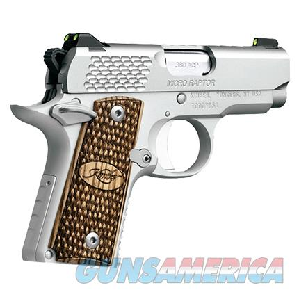 "EASY PAY $72 LAYAWAY  Kimber Micro Raptor Carry Pistol 3300084, 380 ACP, 2.75"", Zebra Wood Grips, Stainless Finish, 6 Rd   Guns > Pistols > Kimber of America Pistols > Micro"
