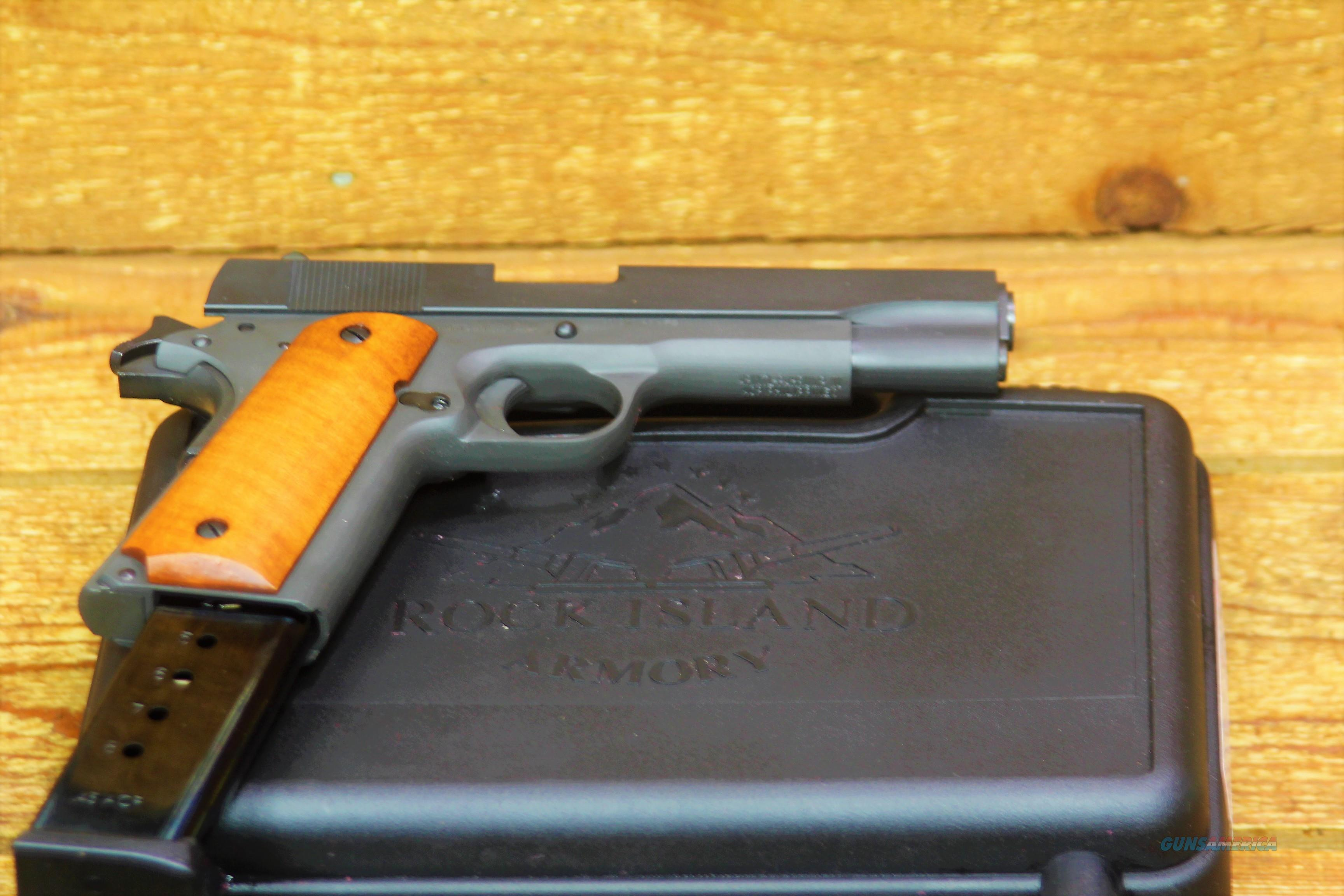 """EASY PAY $42 DOWN LAYAWAY 12 MONTHLY PAYMENTS  Armscor Concealed CARRY Rock Island Armory 5"""" Barrel 1911 Standard GI 1911-A1 Battle proven design  M1911-A1  Fixed Sights .45 ACP 5"""" Barrel 8 Rounds Smooth Wood Grips Parkerized Finish 51421   Guns > Pistols > American Tactical Imports Pistols"""