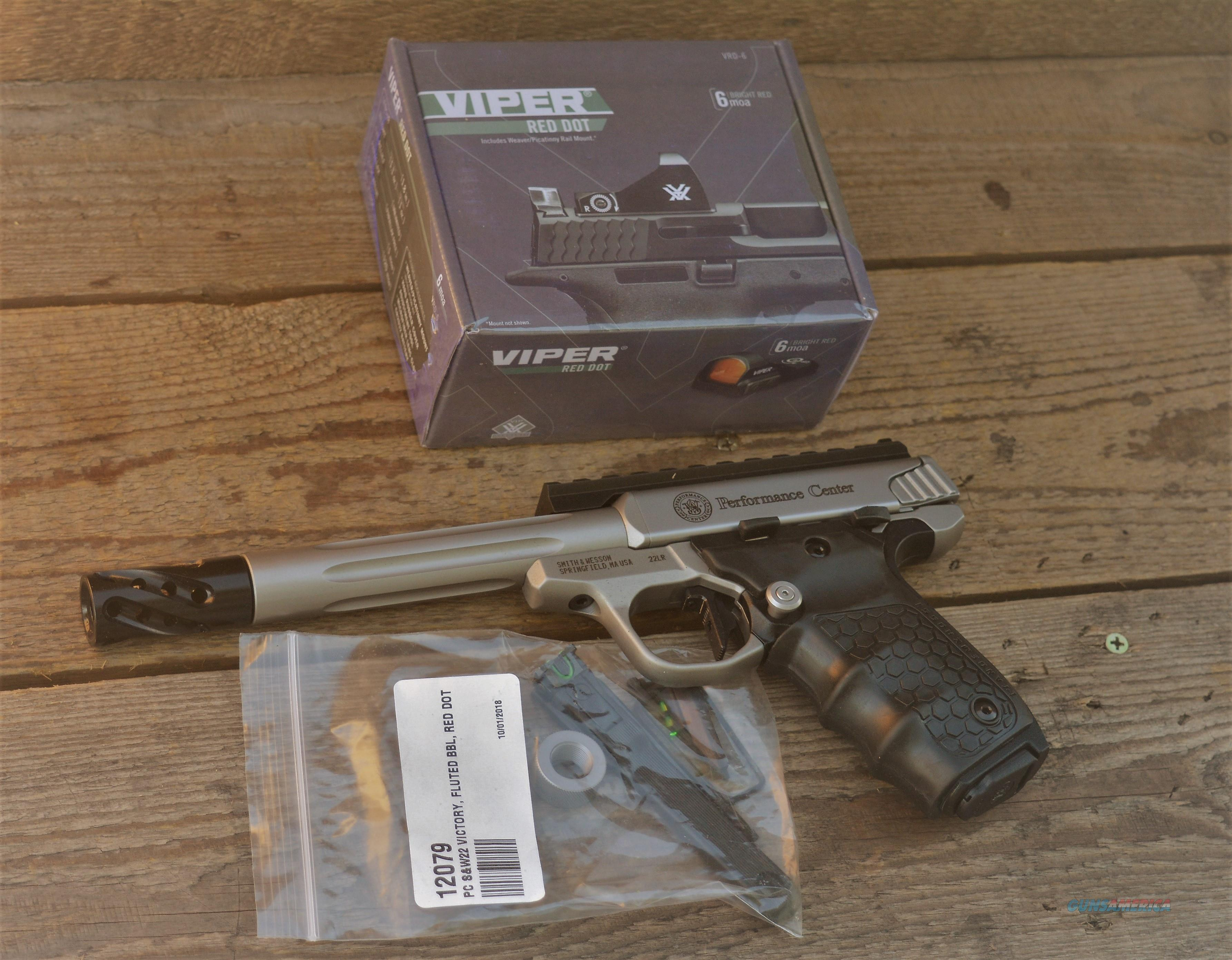 $73 EASY PAY Smith and Wesson PERFORMANCE CENTER Target Pistol OPTIC VORTEX VIPER RED DOT Sight SW22 VICTORY 12079 custom muzzle brake Stainless steel Picatinny rail 22LR Steel reinforced polymer thumb safety 22 LR   Guns > Pistols > Smith & Wesson Pistols - Autos > Steel Frame