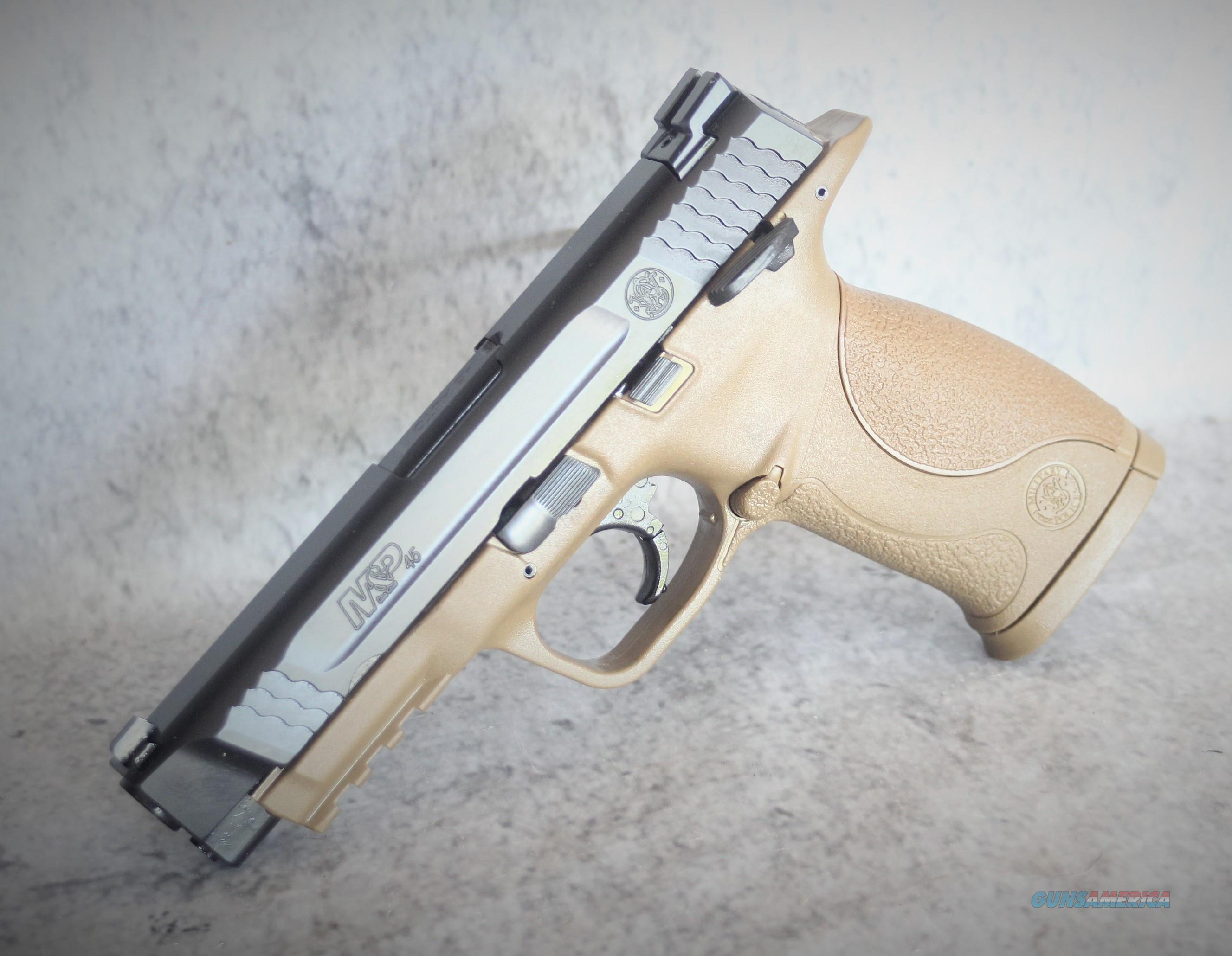"01 S&W fde limIted SALE ENDS 10-30 EASY PAY $49   layaway S&W M&P45 .45ACP 4.5"" FS 10-SH W/SAFETY BLK SS/DRK BRN POLY 109156 SMITH AND WESSON MP45 45ACP DARK EARTH 109156  Guns > Pistols > Smith & Wesson Pistols - Autos > Polymer Frame"