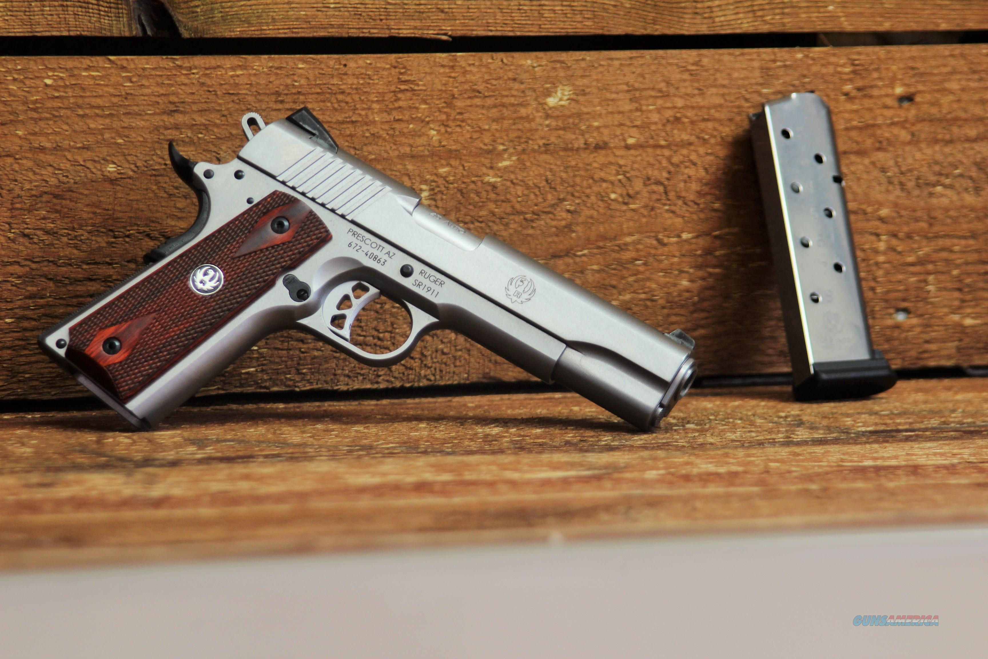 $70  EASY PAY Ruger Traditional design wood grip 1911 beavertail grip Extended thumb safety  SR-1911 45ACP ( Automatic Colt Pistol )fixed Novak Classic light trigger target  titanium firing pin  lightweight Stainless Steel SS 8 rounds 6700   Guns > Pistols > Ruger Semi-Auto Pistols > 1911