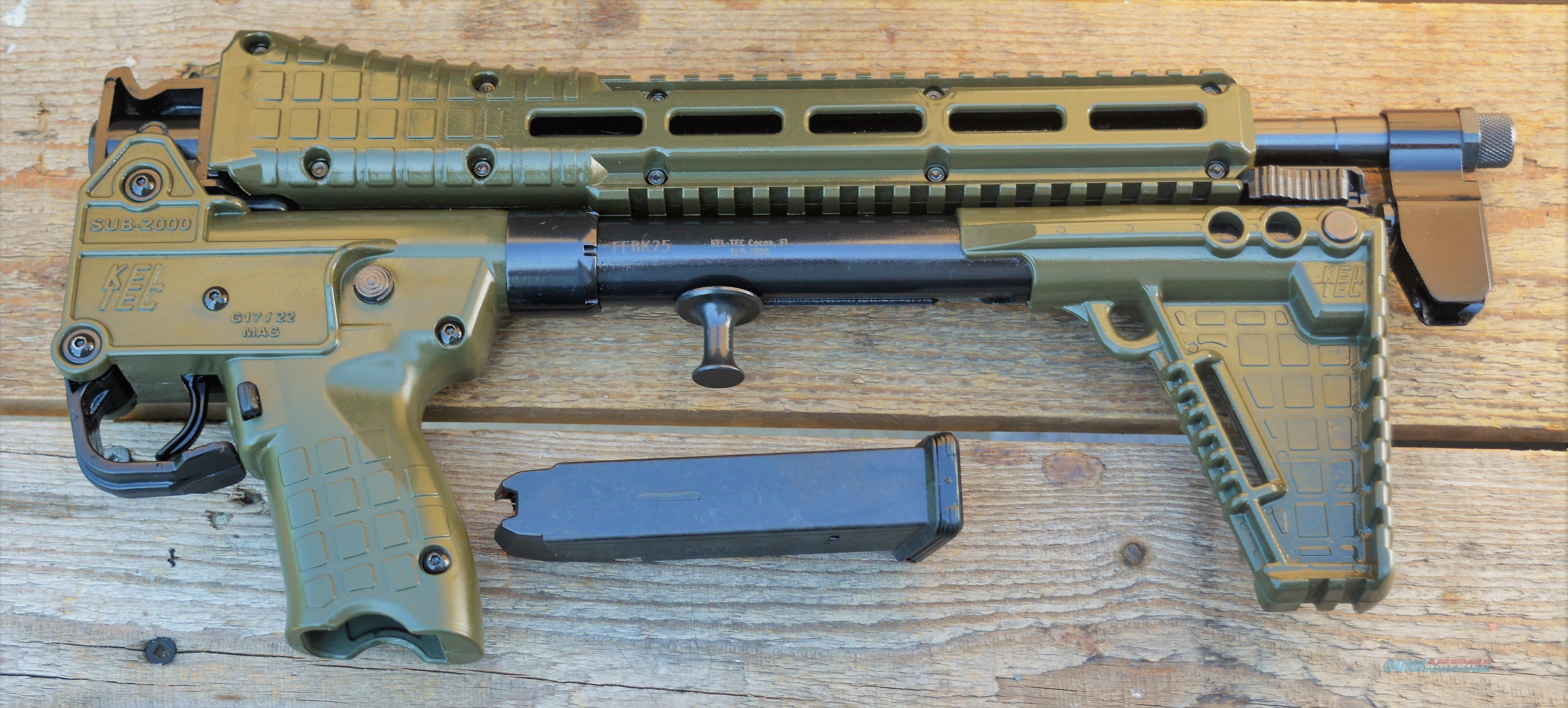 "$47 EASY PAY Kel-tec sub-2000 folding GREEN ""Gator Grip"" NO SALE TO CALIFORNIA SYNTHETIC 3-position adjustable stock texture Picatinny rails USES Glock 9mm magazine Amo  sling attachment SUB9G17GRNHC sub2000   Guns > Rifles > Kel-Tec Rifles"