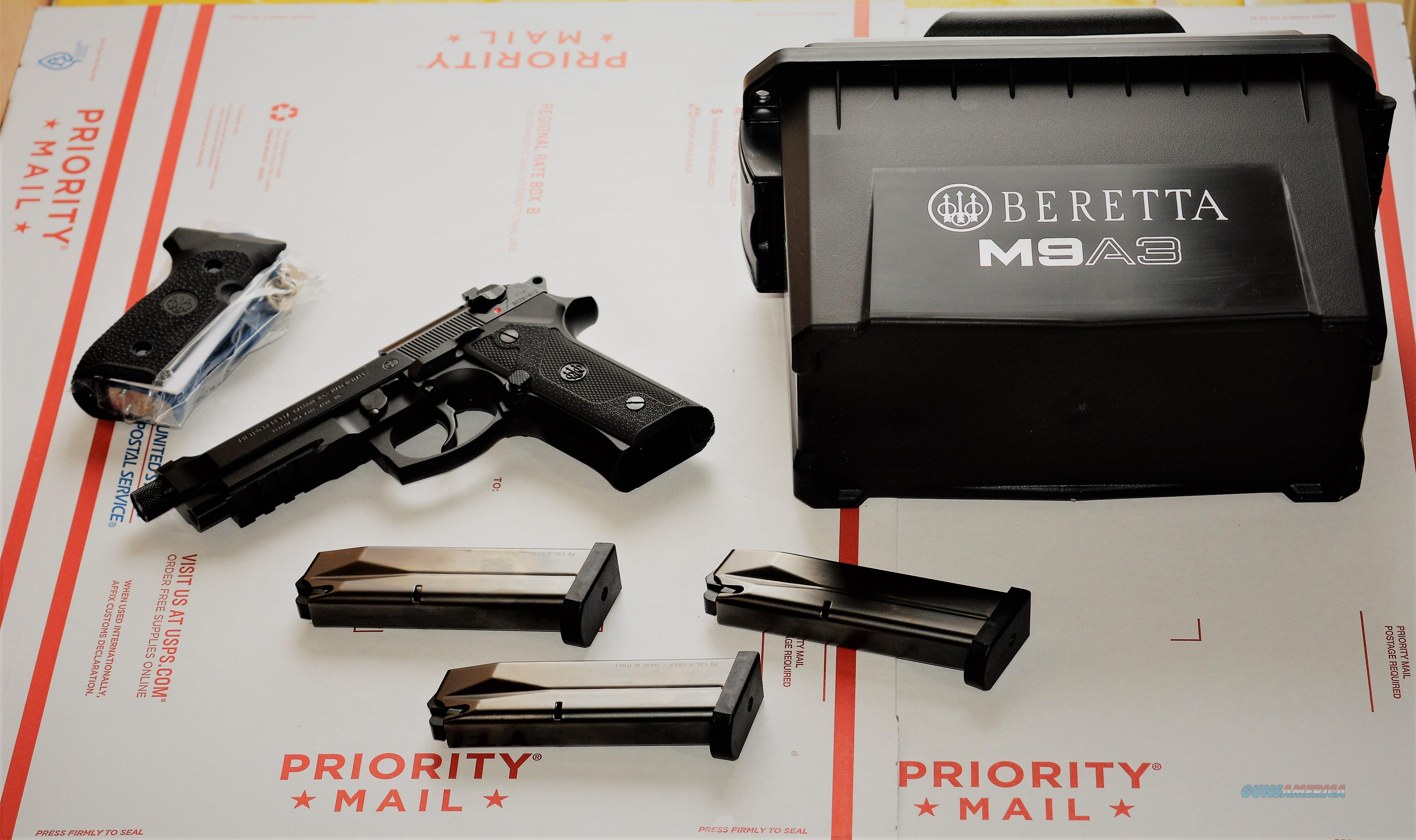 "1. EZ PAY $90 Beretta USA CORP M9A3 member of the M9 family CAP  17+1 Removeable Night Sights G Semi-Auto 9mm SA/DA 5.2"" Threaded Polymer Black Poly Grip tactical Picatinny rail 17 Rd J92M9A3GM0  Guns > Pistols > Beretta Pistols > M9"