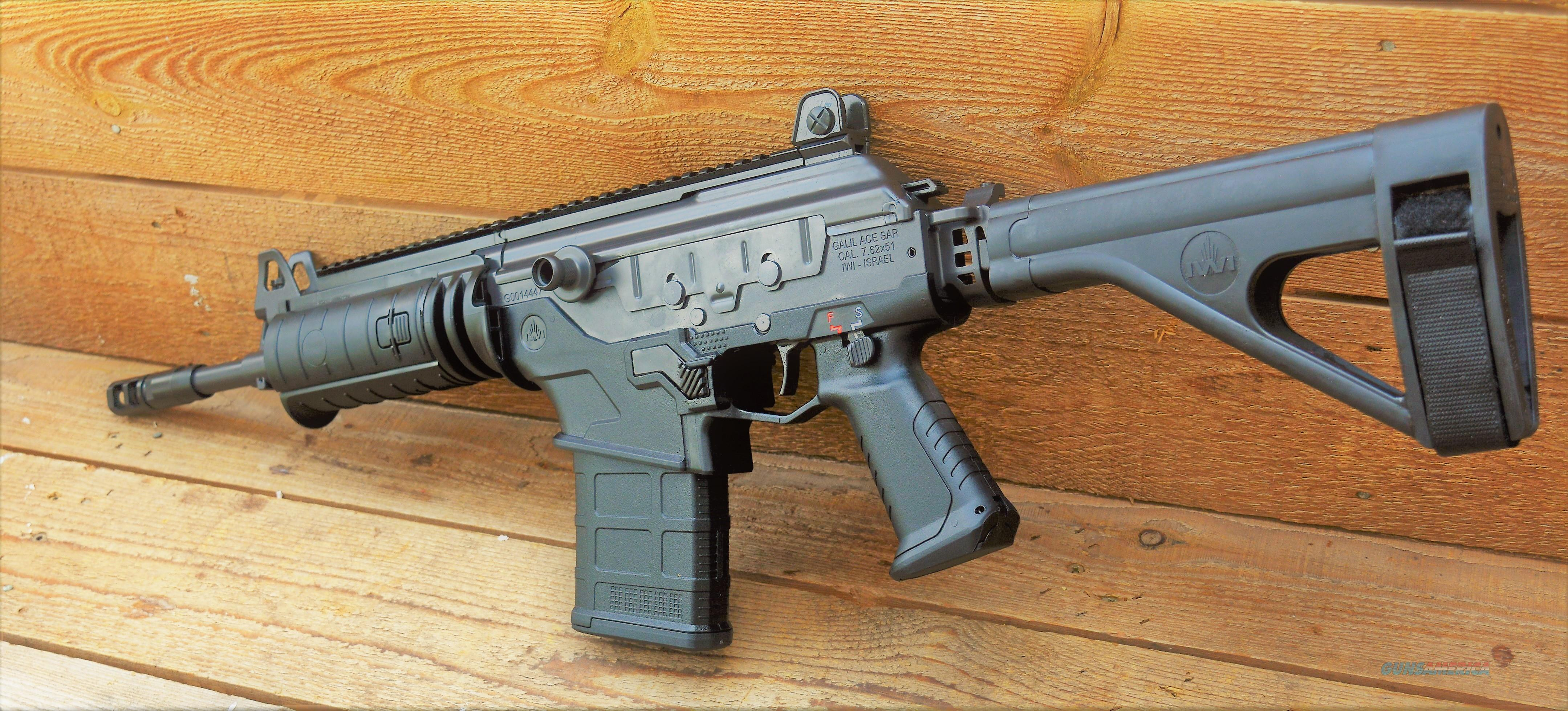 """1 $110 EASY PAY   IWI Galil Ace Side Folding Pistol W Stabilizing Brace Pistol steel milled receiver 7.62 NATO 20 Rounds 11.8""""  Cold Hammer Forged Chrome Lined Barrel 20 Rounds Magpul LR/SR25 Gen M3 Magazine Compatible  Black GAP51SB  Guns > Rifles > IWI Rifles"""
