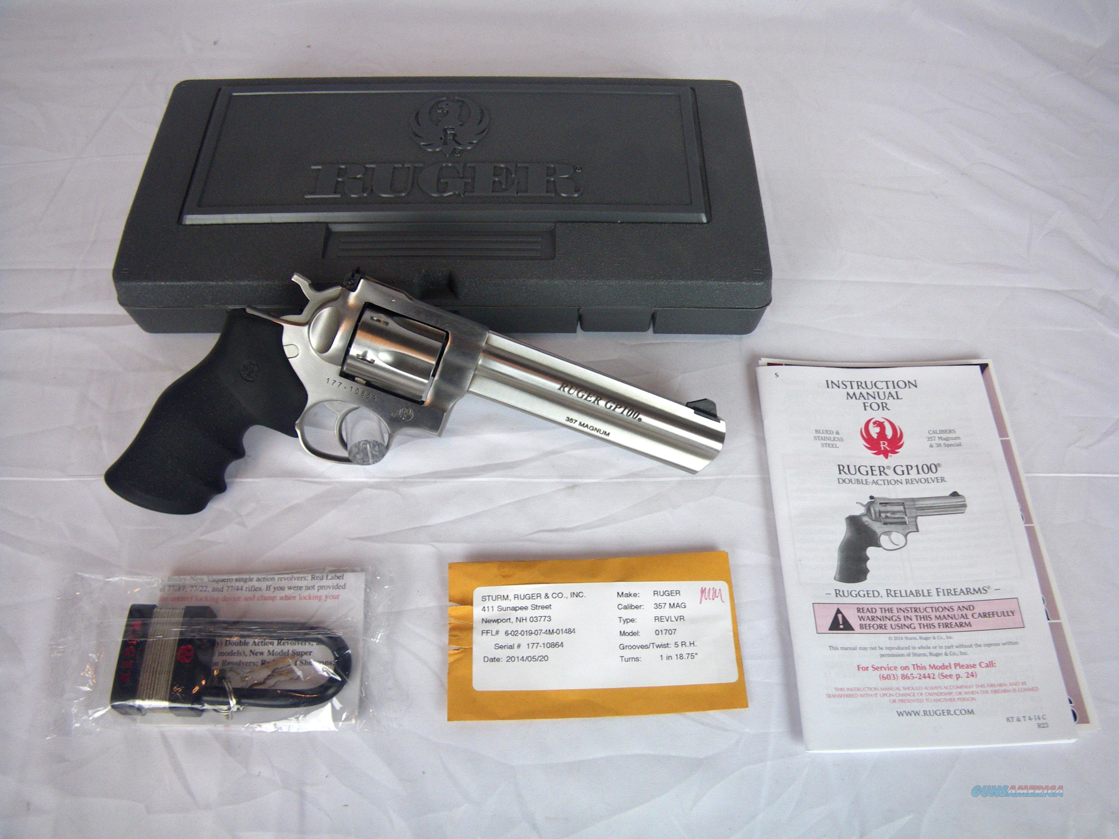 "Ruger GP100 Double Action Revolver 357 Mag 6"" New #1707  Guns > Pistols > Ruger Double Action Revolver > GP100"