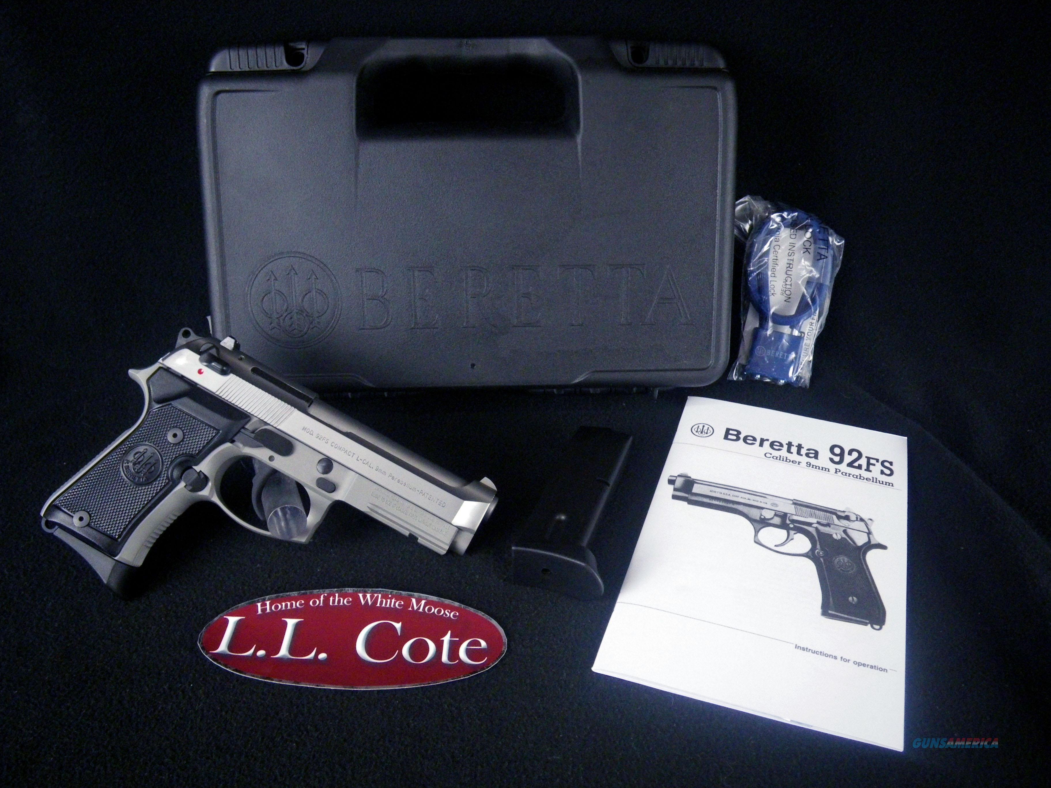 """Beretta 92FS Compact Inox 9mm 4.25"""" NEW J90C9F20  Guns > Pistols > Beretta Pistols > Model 92 Series"""