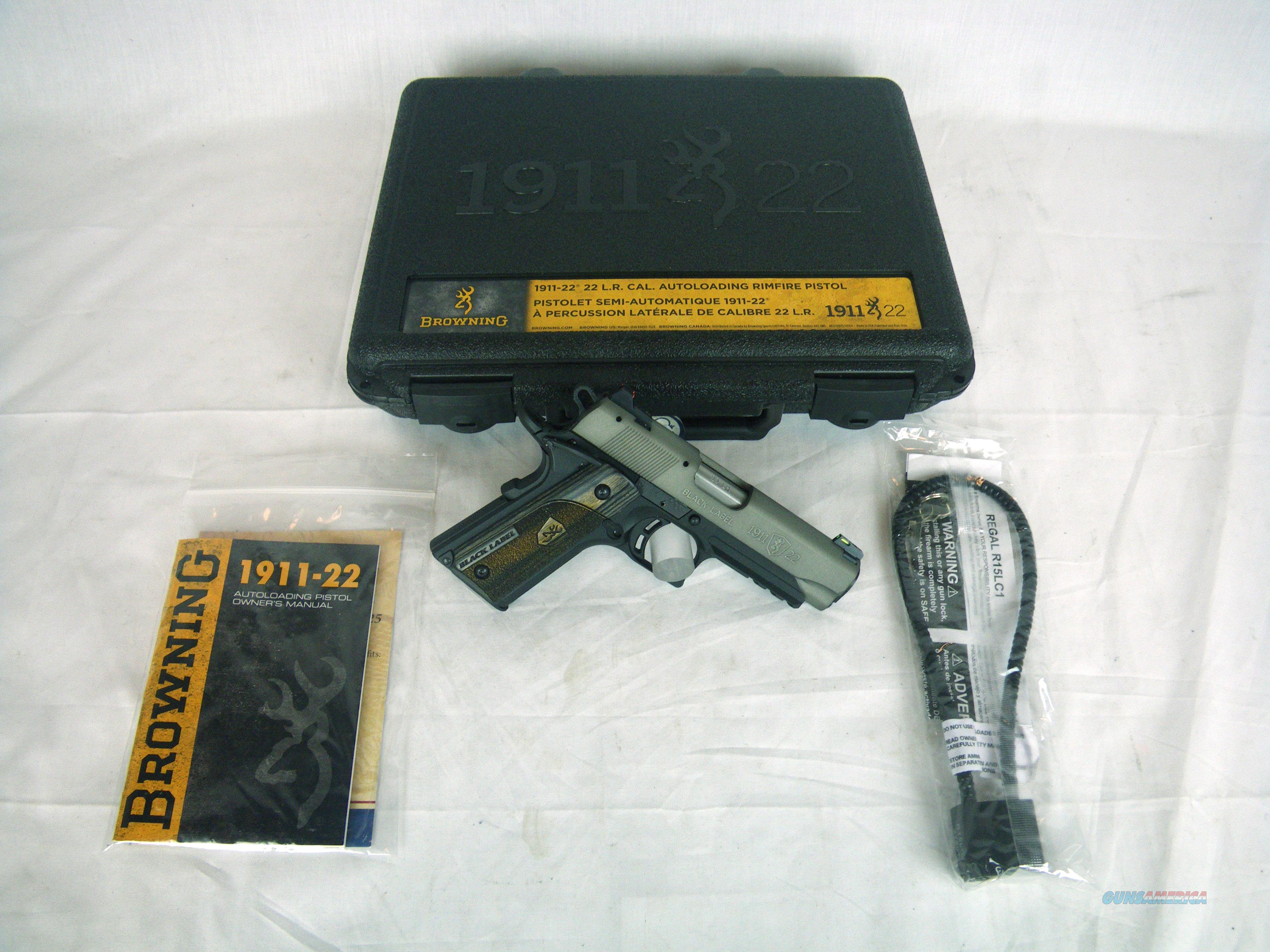 """Browning 1911-22 Gray Compact W/Rail 22lr 3-5/8"""" #051850490  Guns > Pistols > Browning Pistols > Other Autos"""