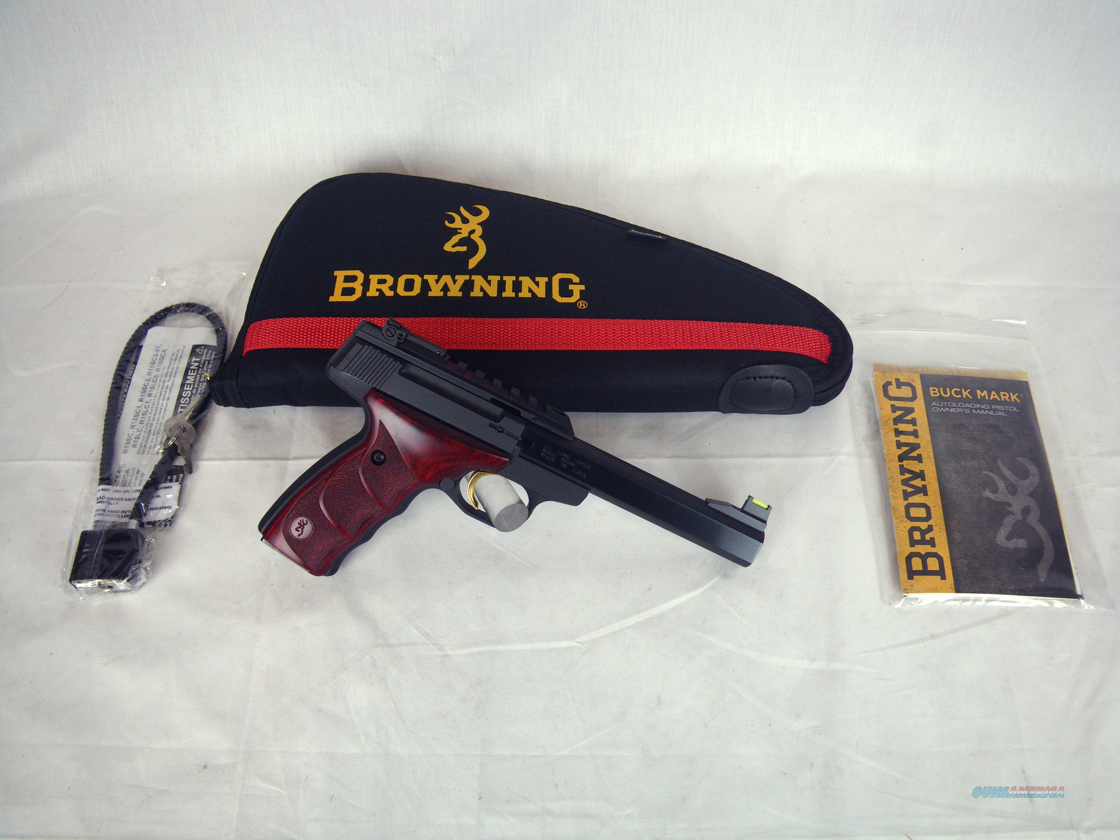 "Browning Buckmark Plus UDX Rosewood 22lr 5.5"" NEW #051533490  Guns > Pistols > Browning Pistols > Buckmark"