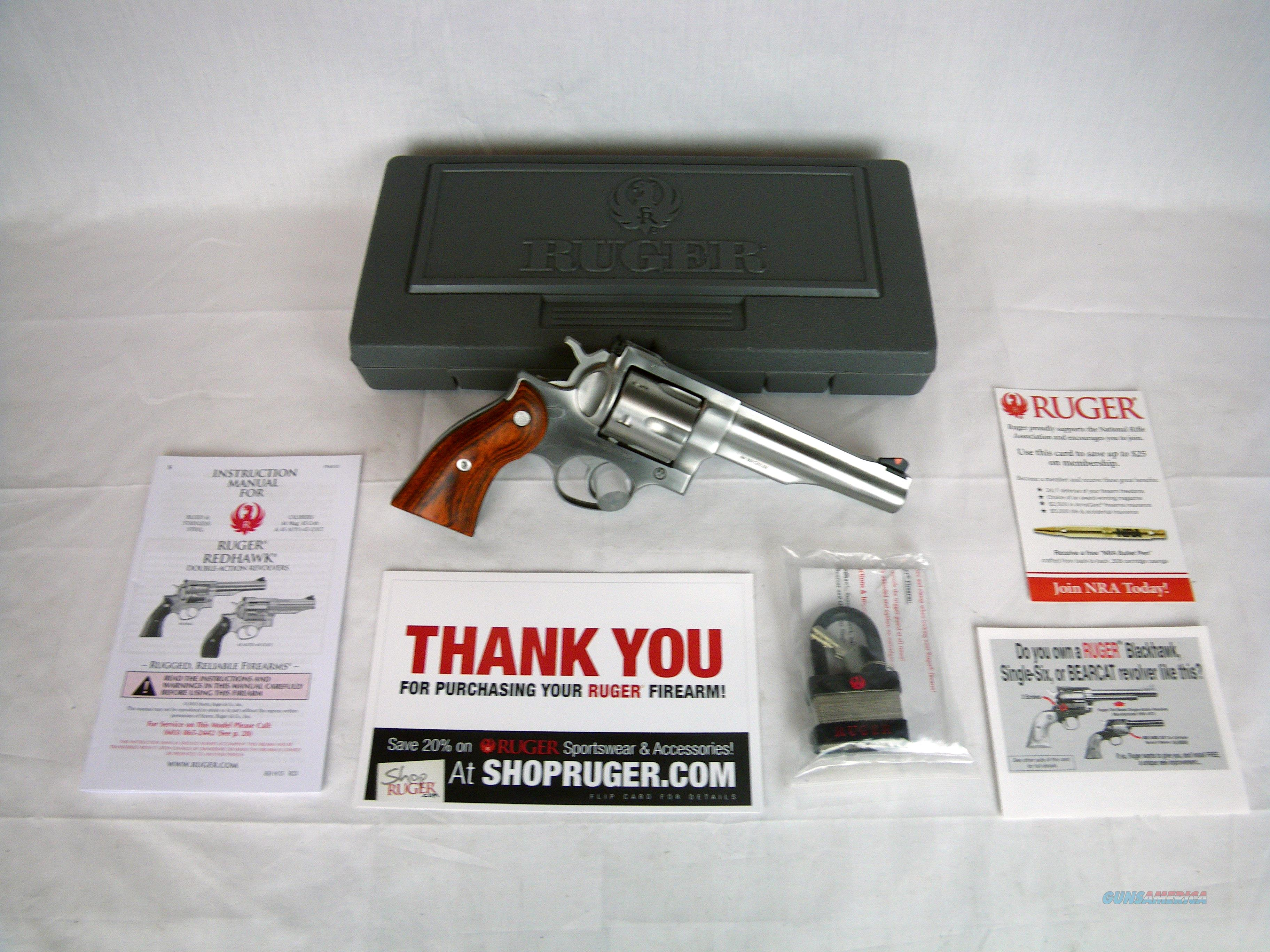 "Ruger Redhawk 44 Mag 5.5"" Stainless/Wood NEW #5004  Guns > Pistols > Ruger Double Action Revolver > Redhawk Type"
