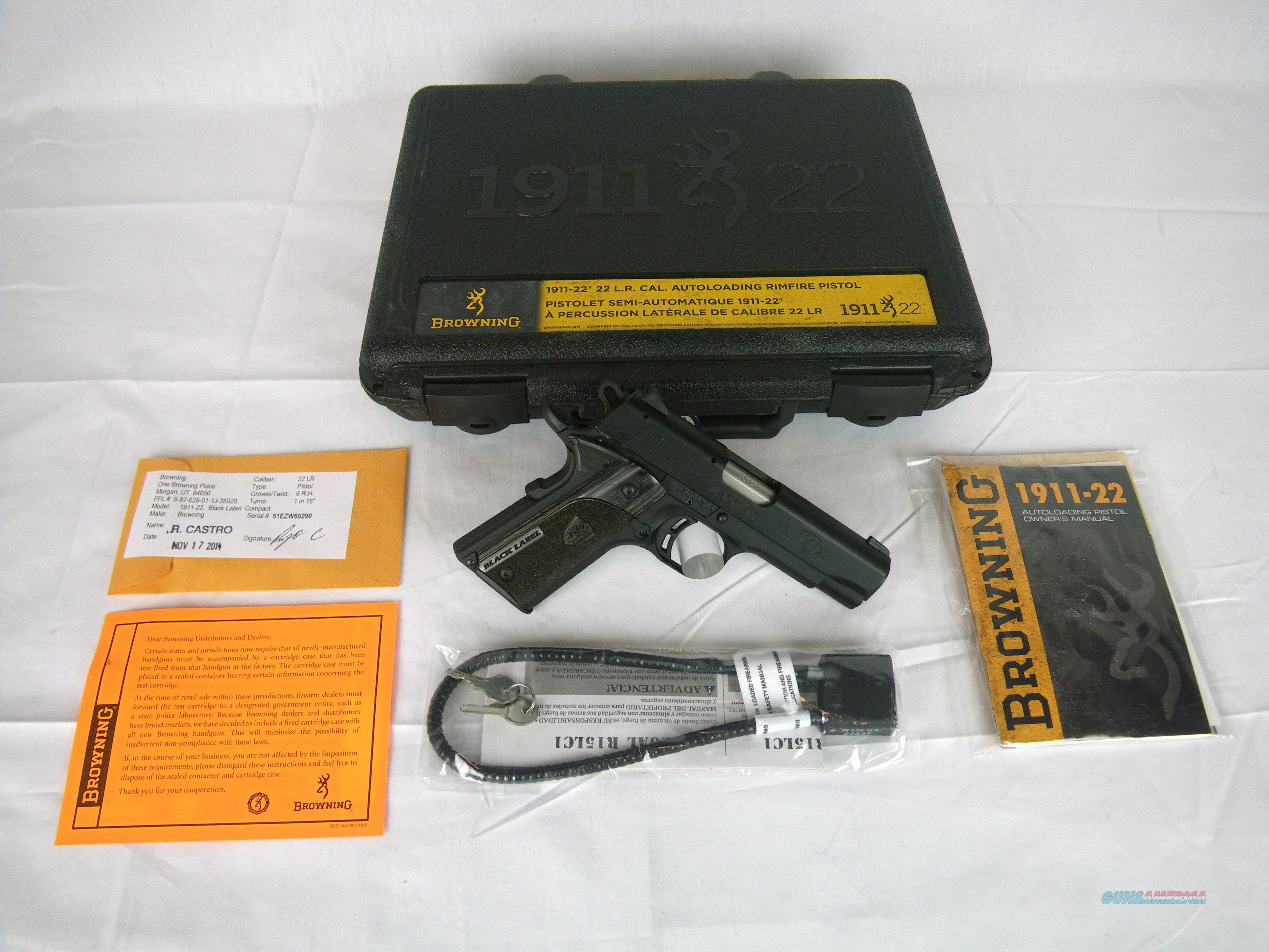 """Browning 1911-22 Black Label Cmpct 22lr 3-5/8"""" NEW #051815490  Guns > Pistols > Browning Pistols > Other Autos"""