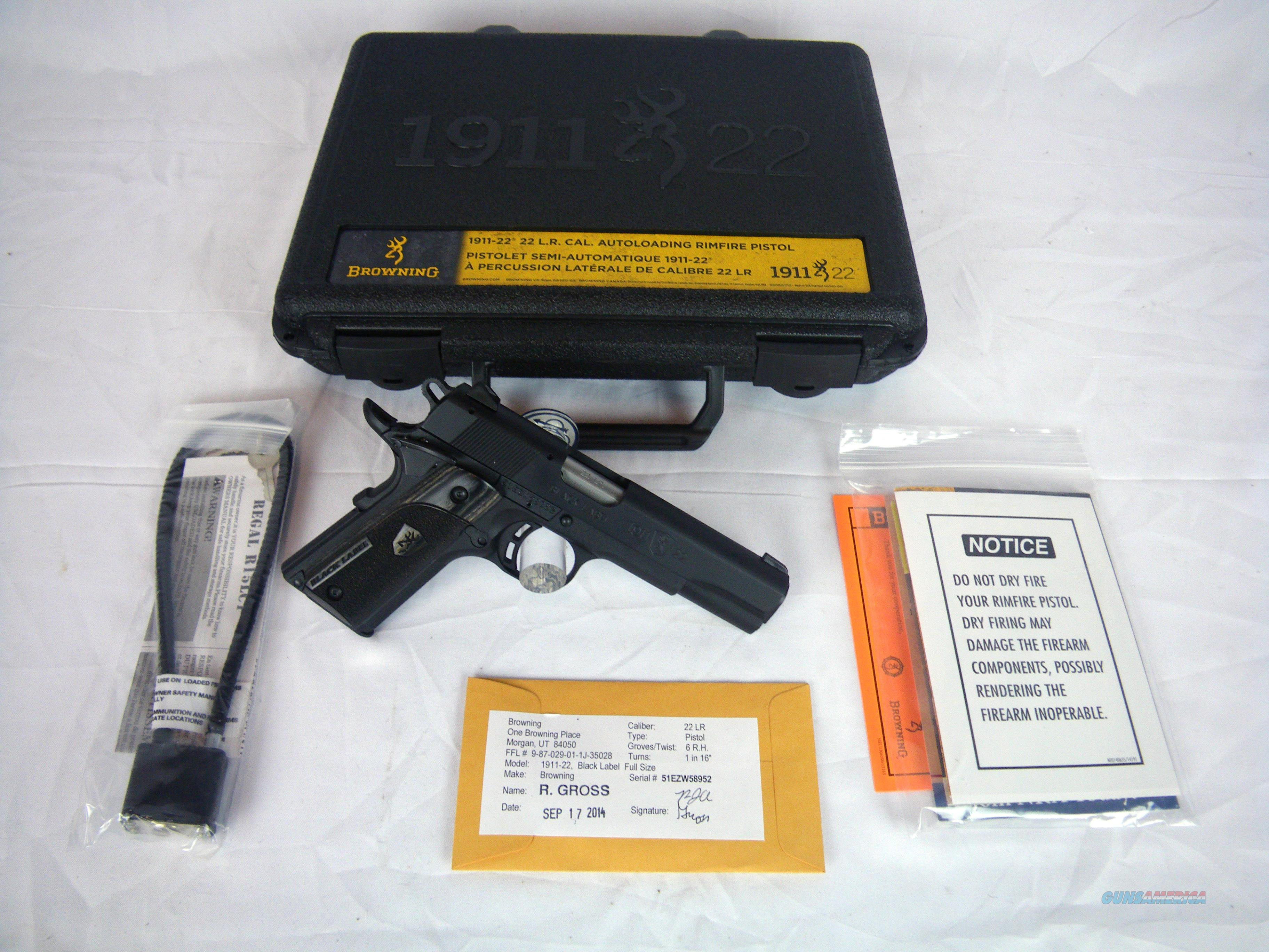 "Browning 1911-22 A1 Black Label Laminate 22lr 4.25"" #051814490  Guns > Pistols > Browning Pistols > Other Autos"