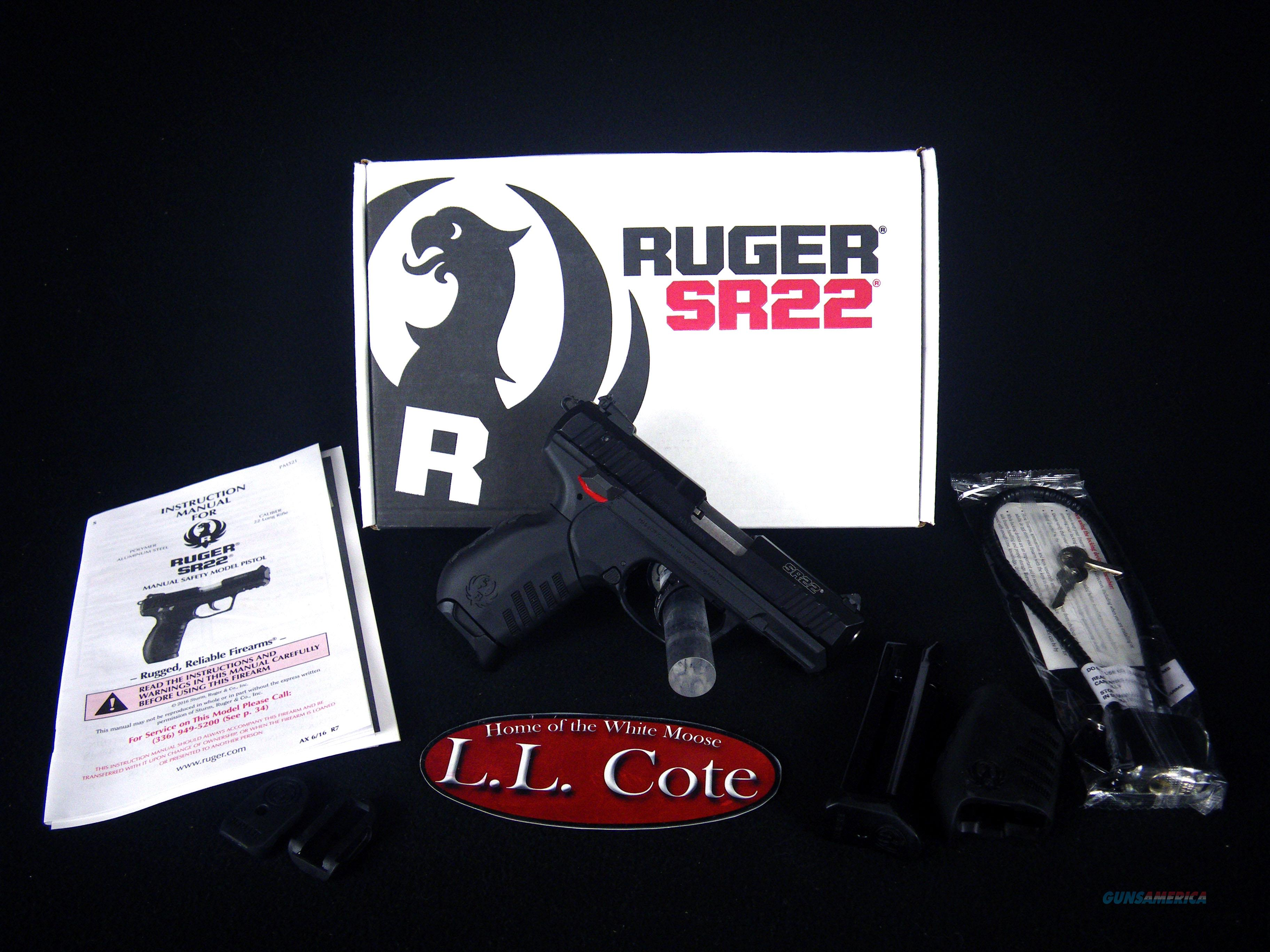 "Ruger SR22 Threaded 22lr 3.5"" Black/Syn NEW 3604  Guns > Pistols > Ruger Semi-Auto Pistols > SR Family > SR22"
