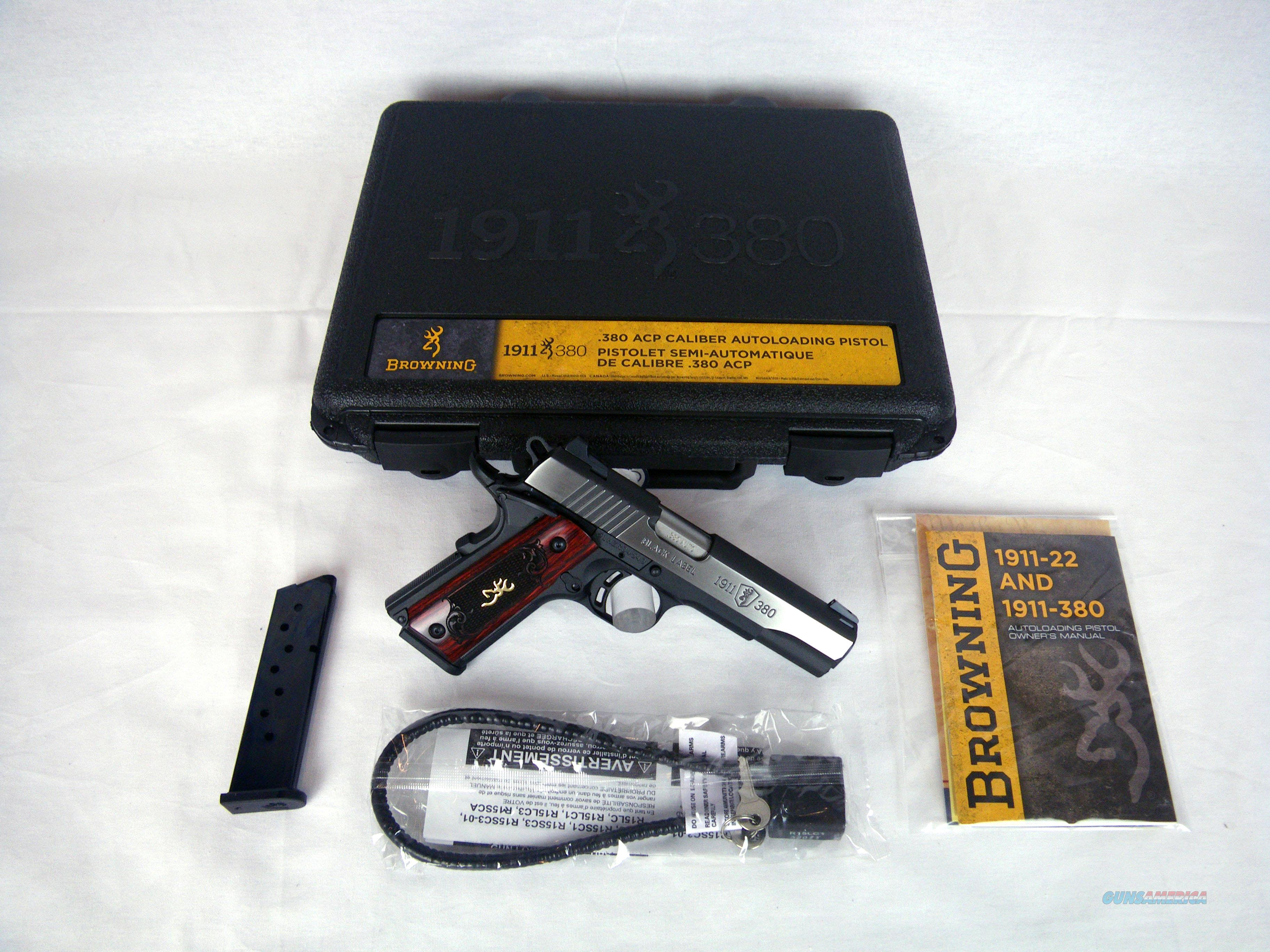 """Browning 1911-380 Medallion Pro 380ACP 4.25"""" NEW #051914492  Guns > Pistols > Browning Pistols > Other Autos"""