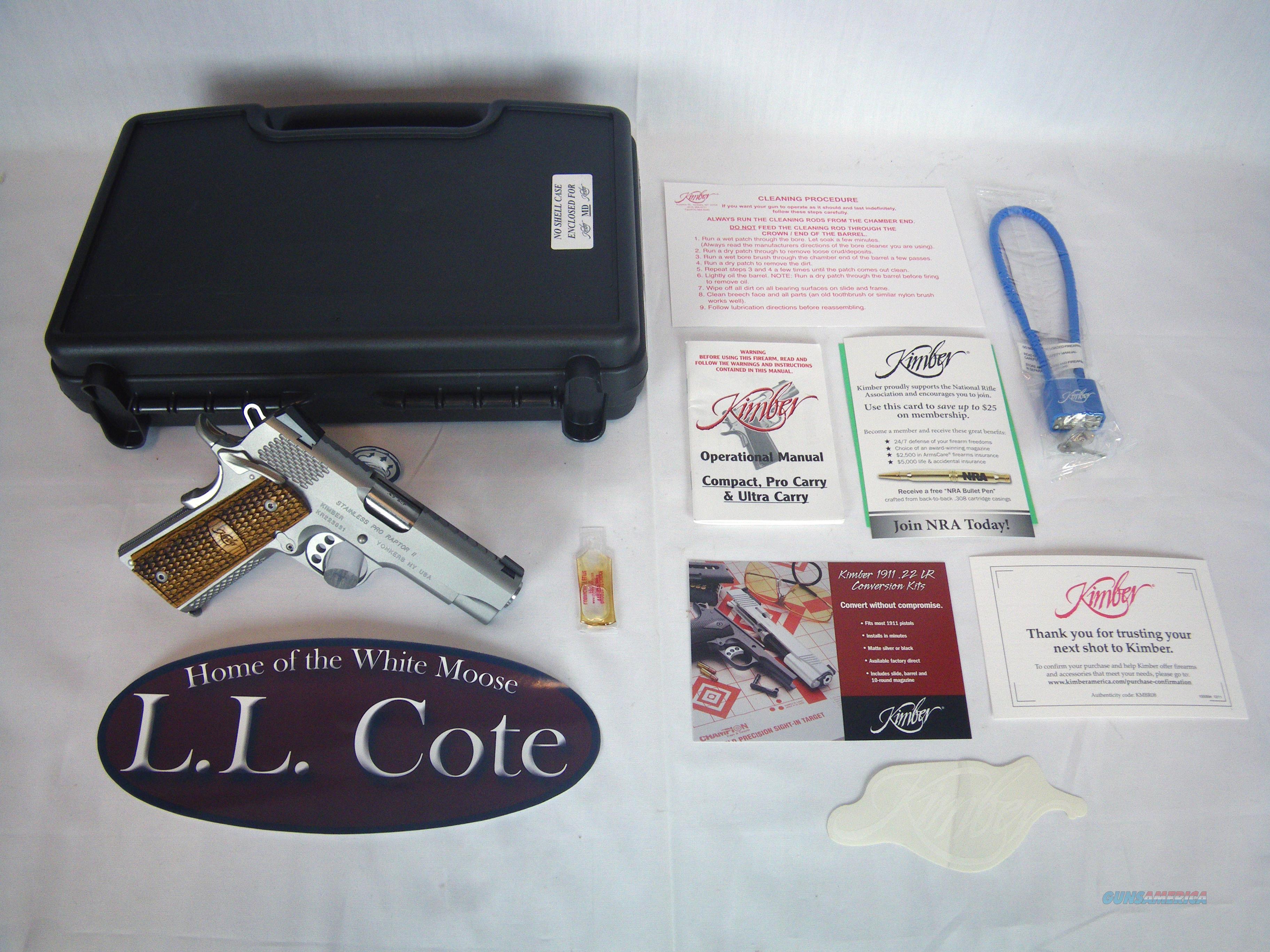 "Kimber Stainless Pro Raptor II 1911 45 ACP 4"" NIB #3200195  Guns > Pistols > Kimber of America Pistols > 1911"