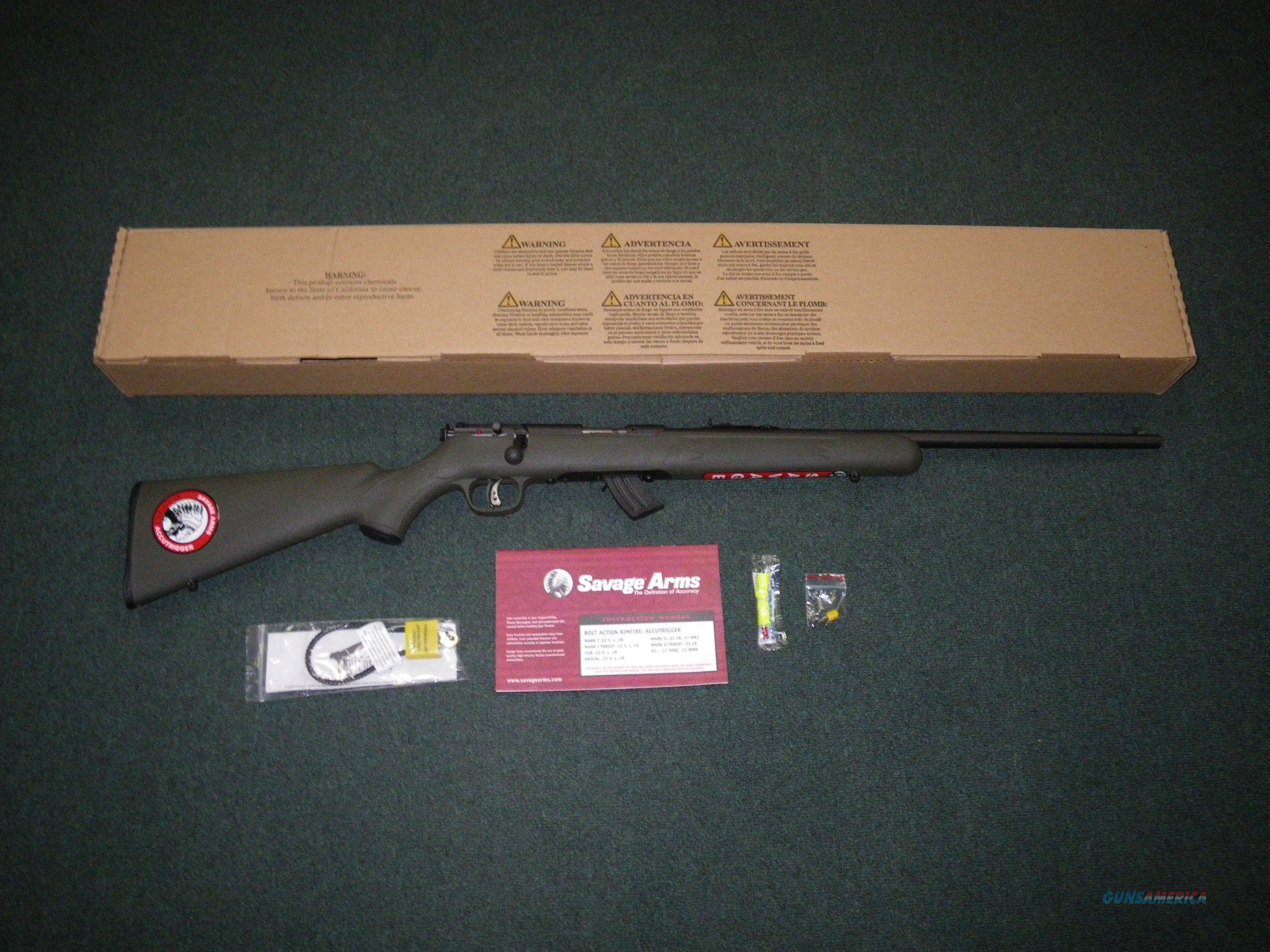 """Savage Mark II F 22lr 21"""" NEW OD Green Accutrigger #26729  Guns > Rifles > Savage Rifles > Rimfire"""